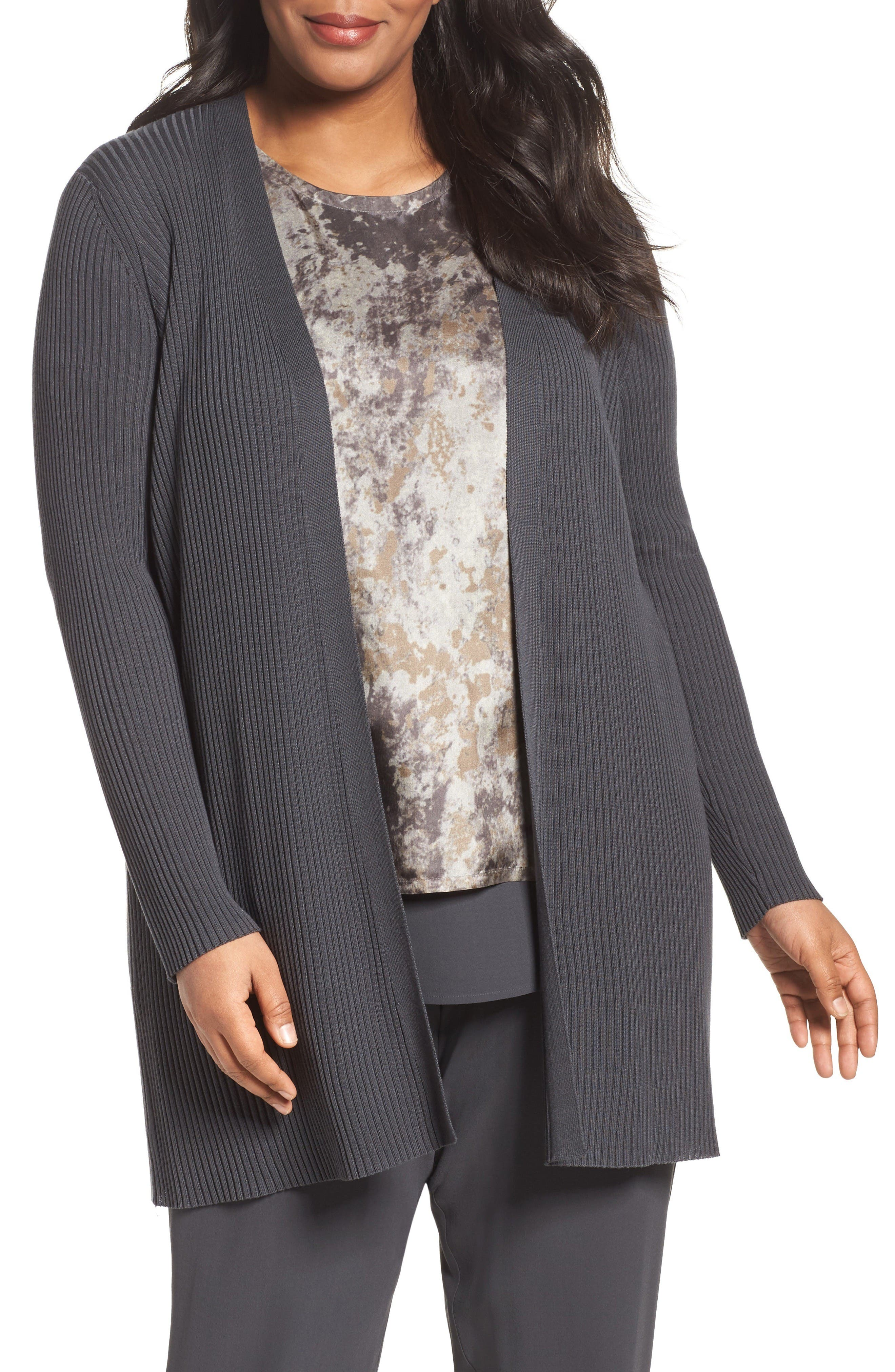 Eileen Fisher Sleek Ribbed Tencel® Long Cardigan (Plus Size)