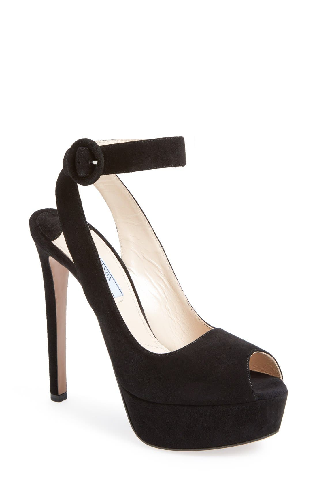 Alternate Image 1 Selected - Prada Ankle Strap Suede Platform Sandal (Women)