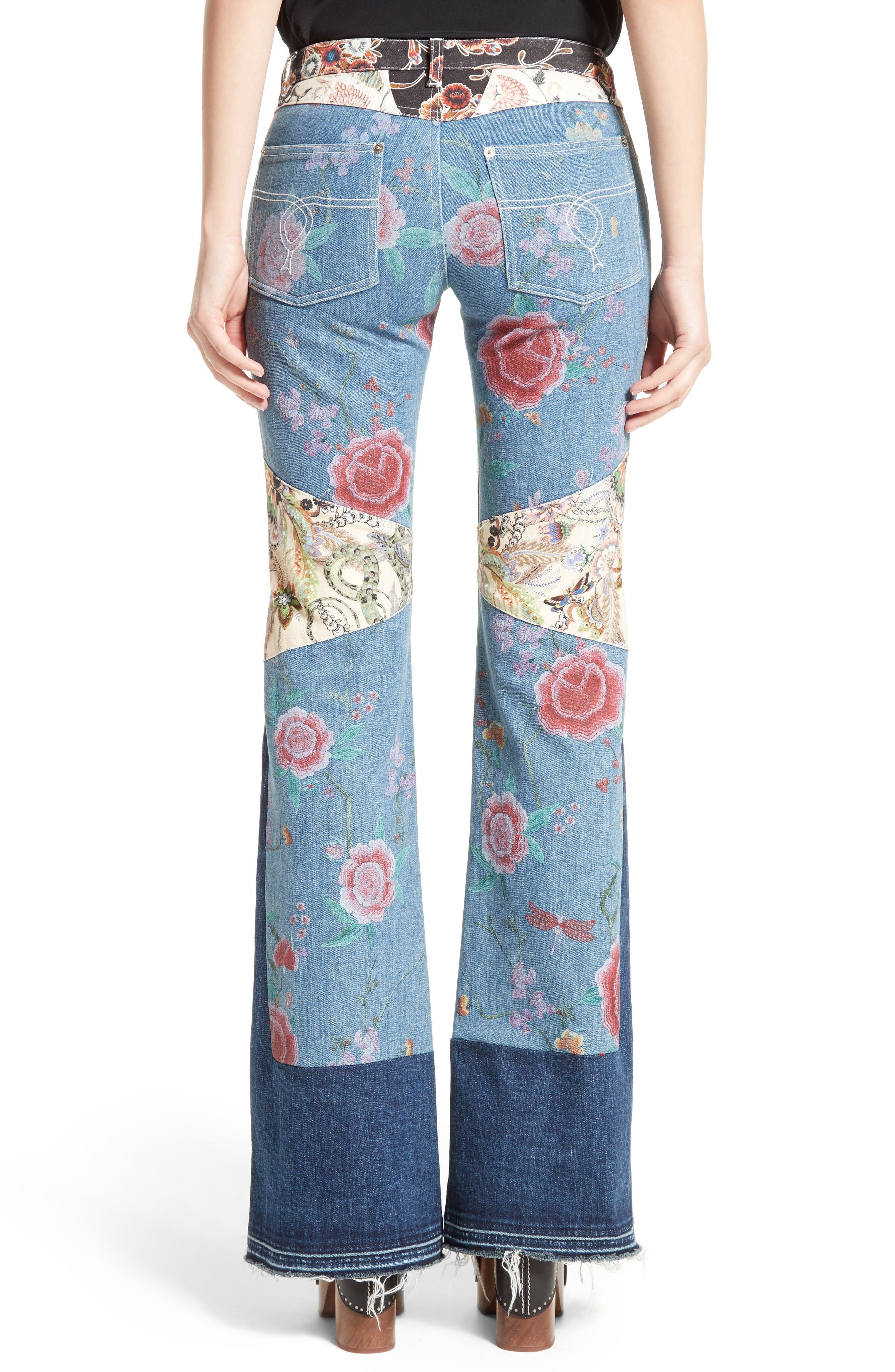 Alternate Image 2  - Roberto Cavalli Patchwork Denim Flare Jeans