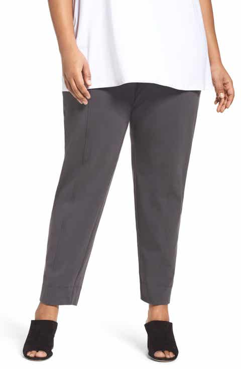 Eileen Fisher Stretch Organic Cotton Jersey Pants (Plus Size)
