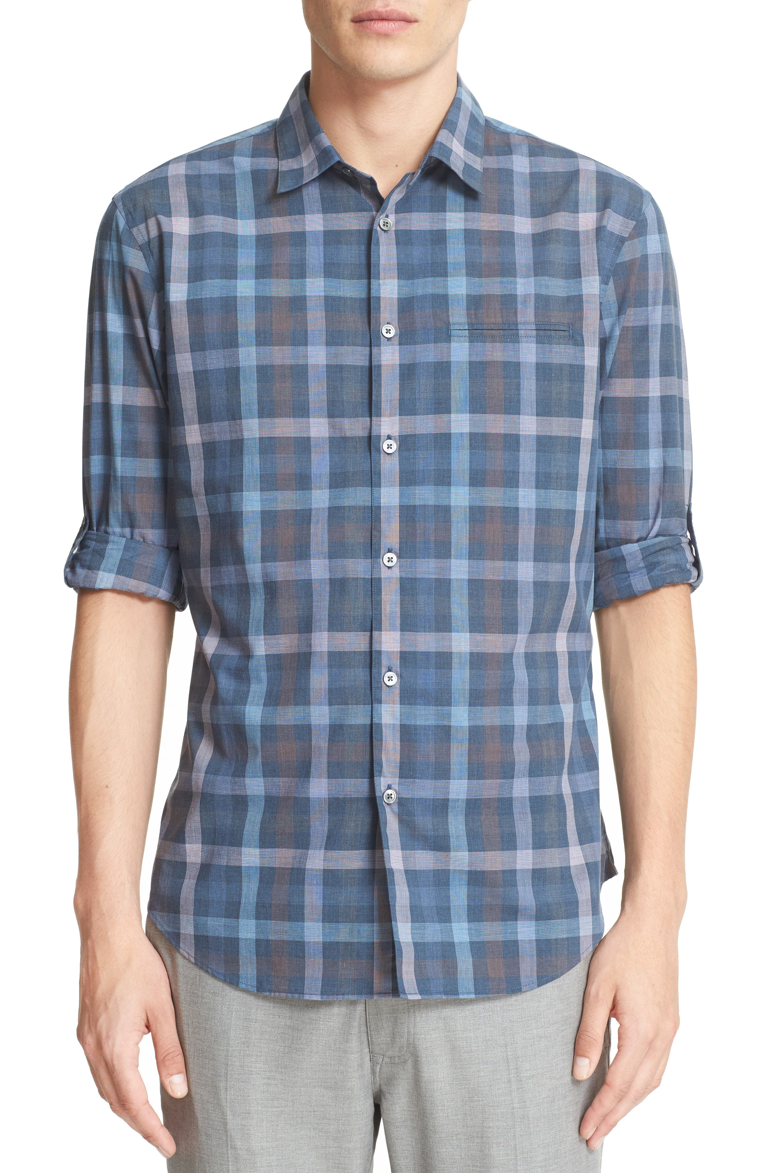 JOHN VARVATOS COLLECTION Everly Extra Trim Fit Plaid