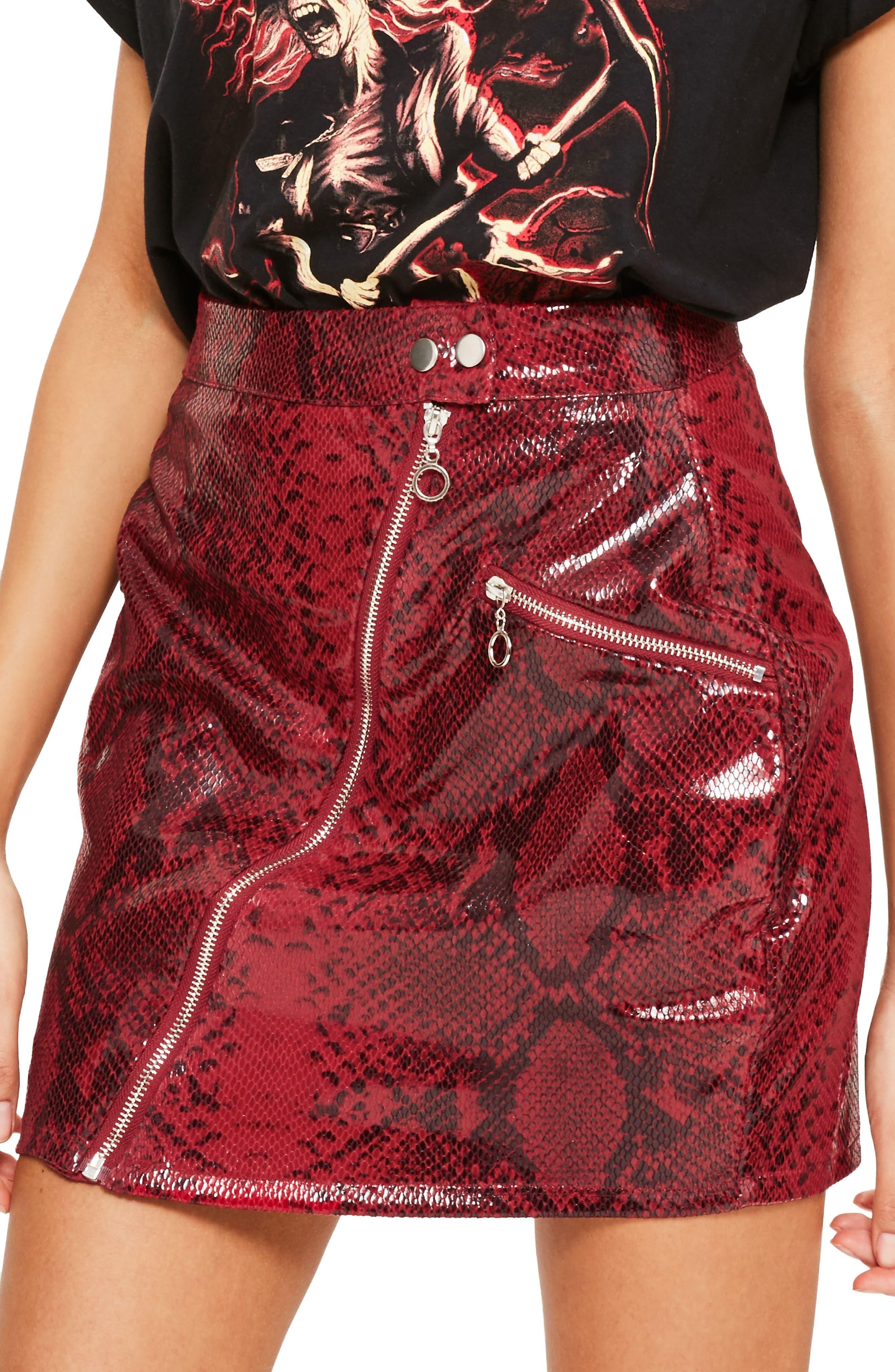 Alternate Image 3  - Missguided High Shine Faux Snakeskin Miniskirt