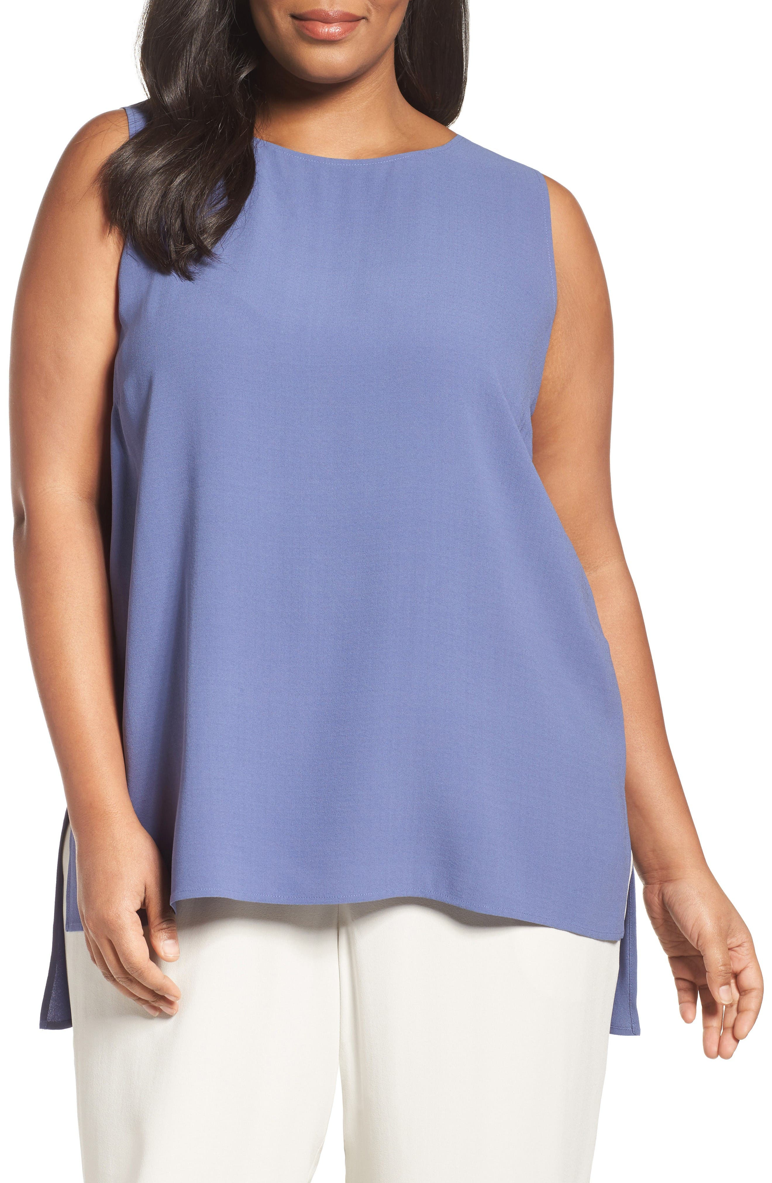 EILEEN FISHER Silk Georgette Crepe Tank