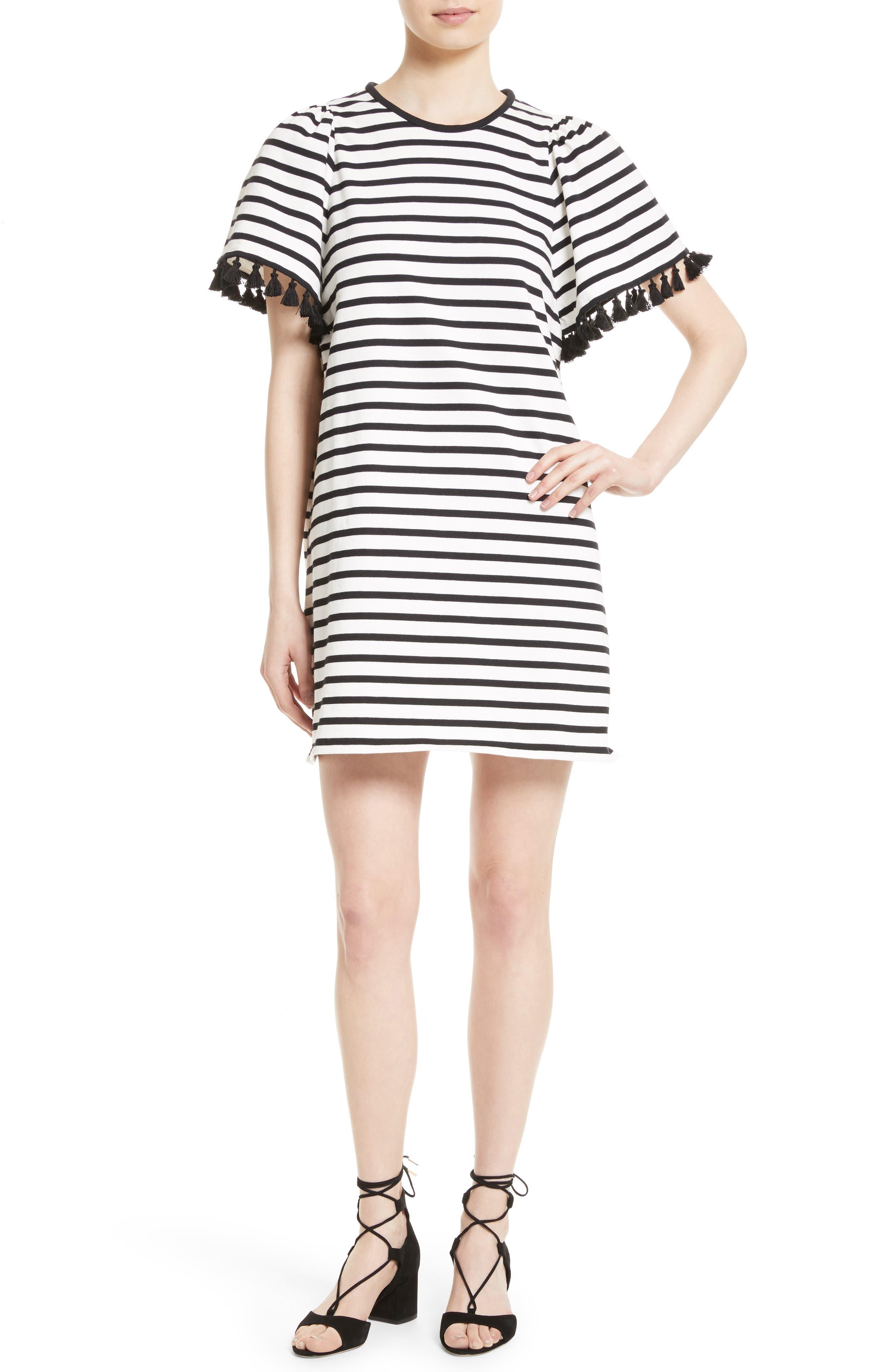 kate spade new york stripe flutter sleeve dress