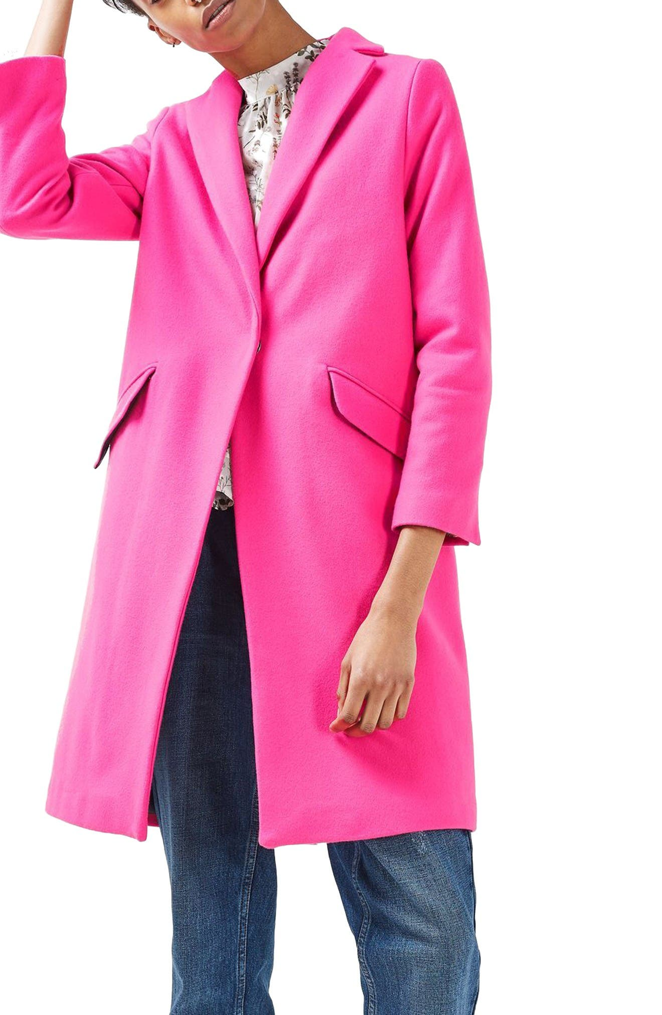 Main Image - Topshop Neon Wool Blend Coat (Petite)