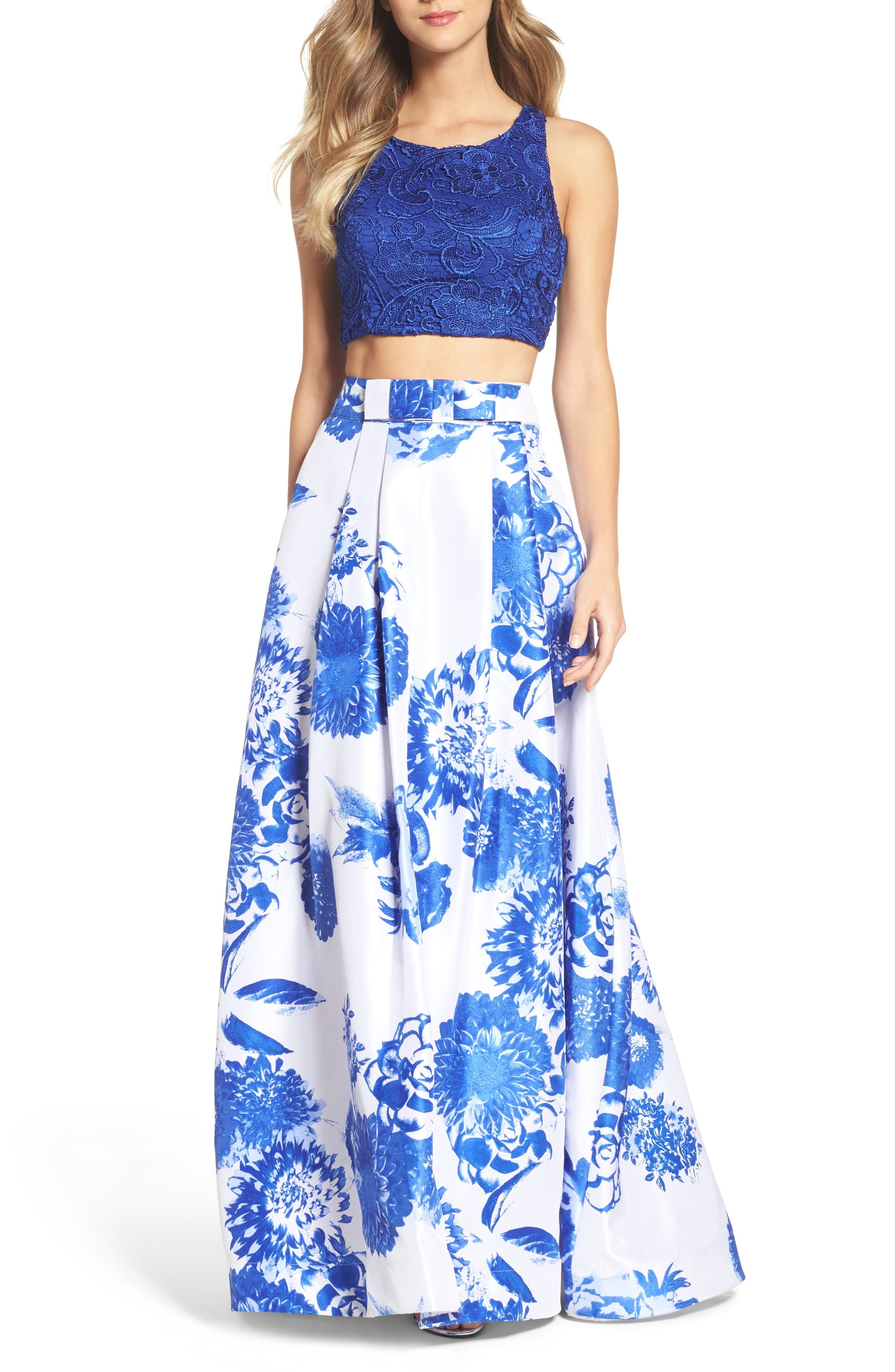 Main Image - Sequin Hearts Two-Piece Gown