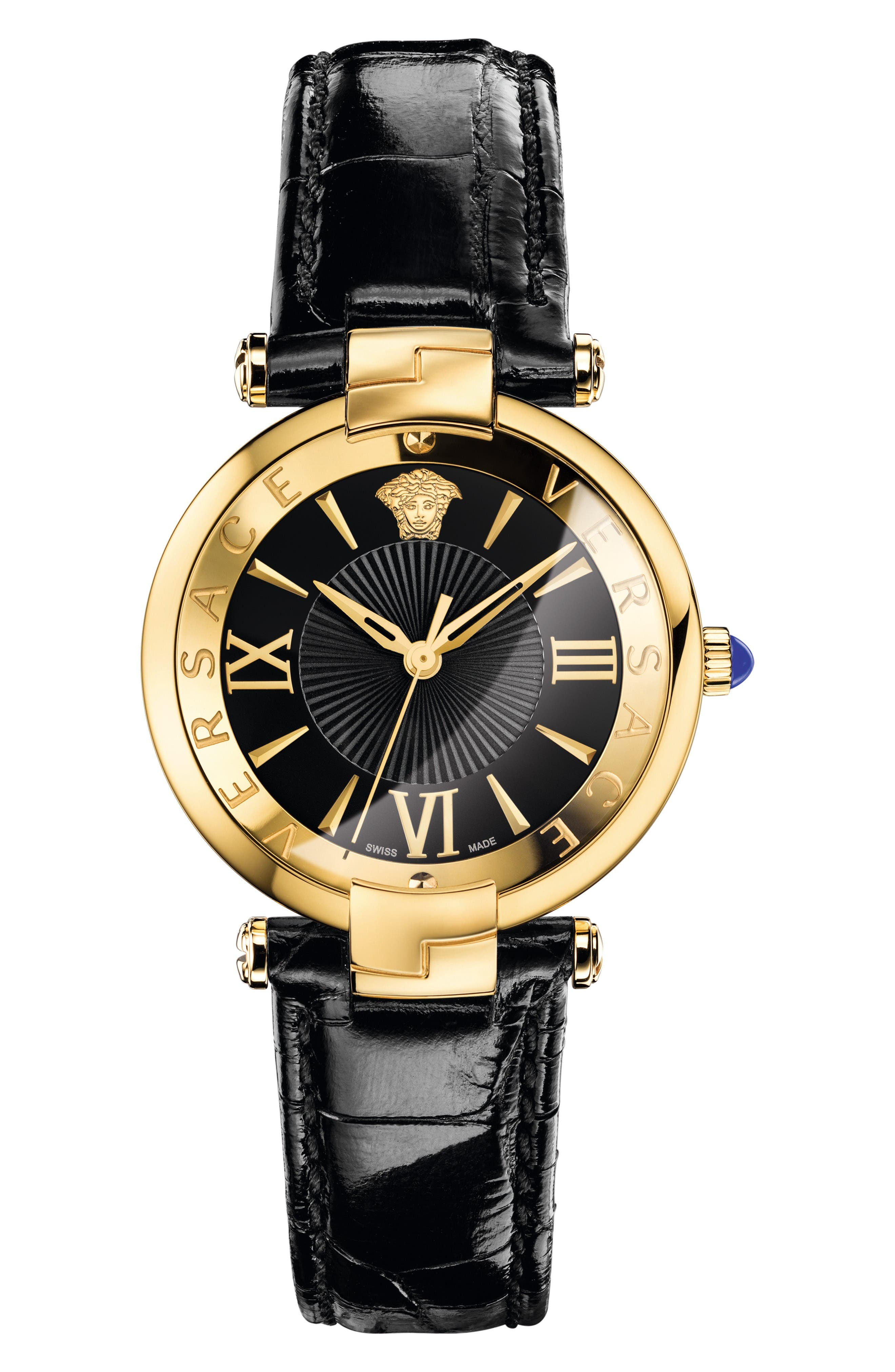 Main Image - Versace Revive Leather Strap Watch, 35mm