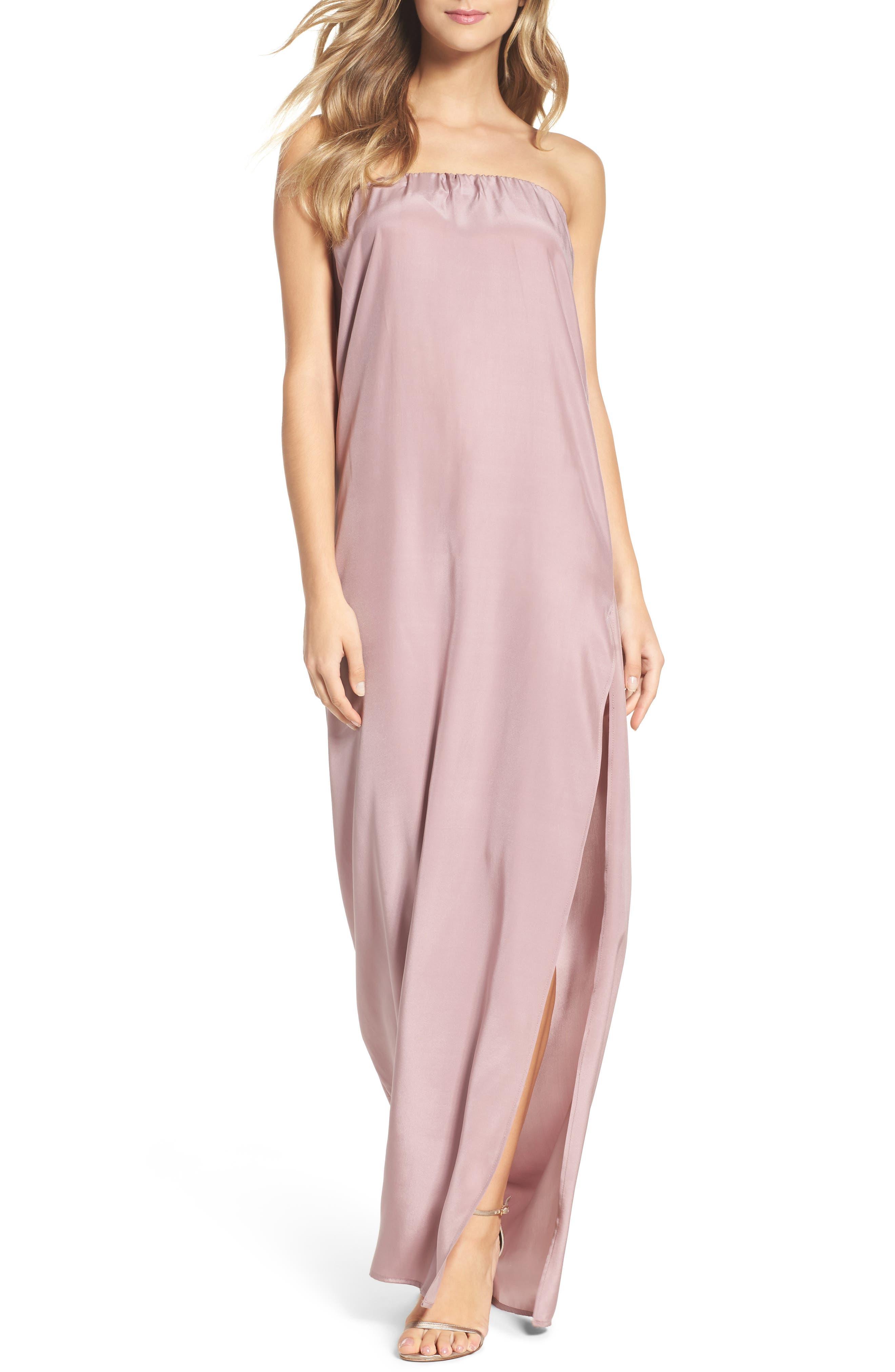 NATALIE DEAYALA Strapless Silk Column Gown