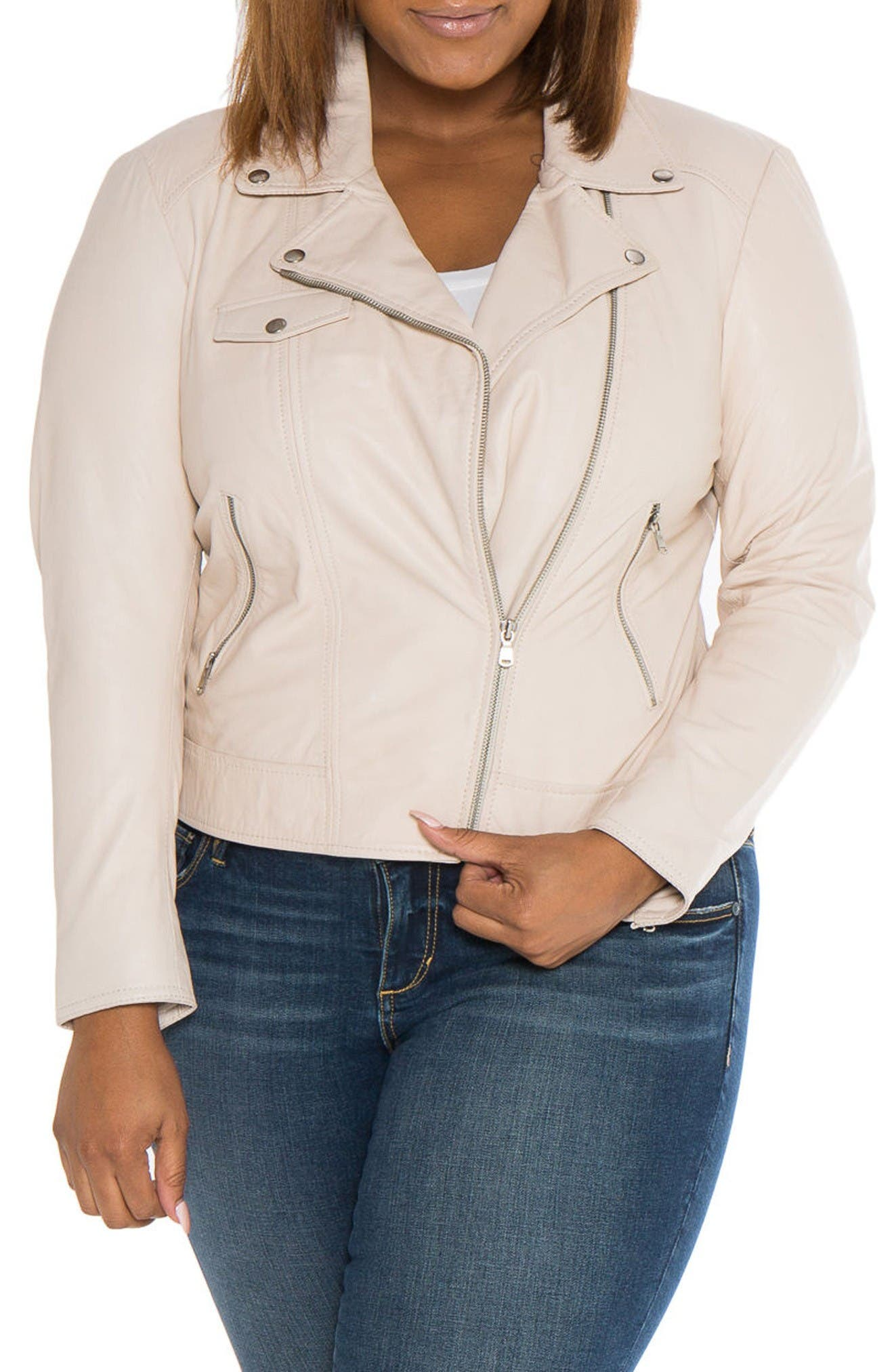 SLINK Jeans Crop Leather Moto Jacket (Plus)