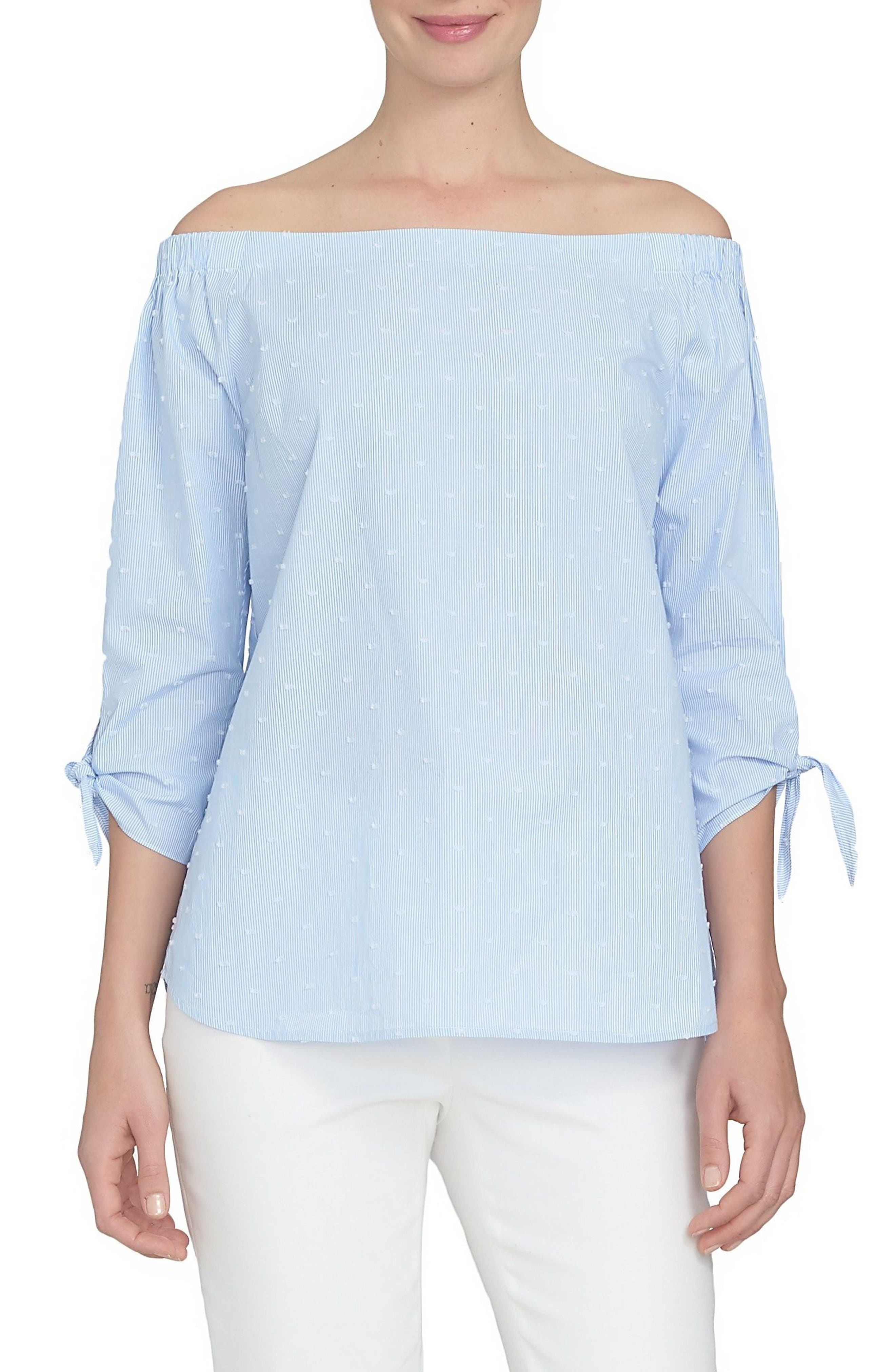 Main Image - CeCe Tie Cuff Off the Shoulder Shirt