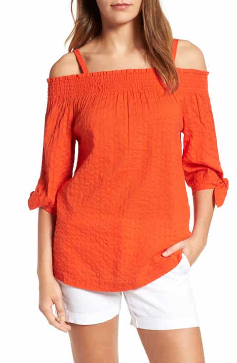 Caslon® Tie Sleeve Off the Shoulder Tie Sleeve Top