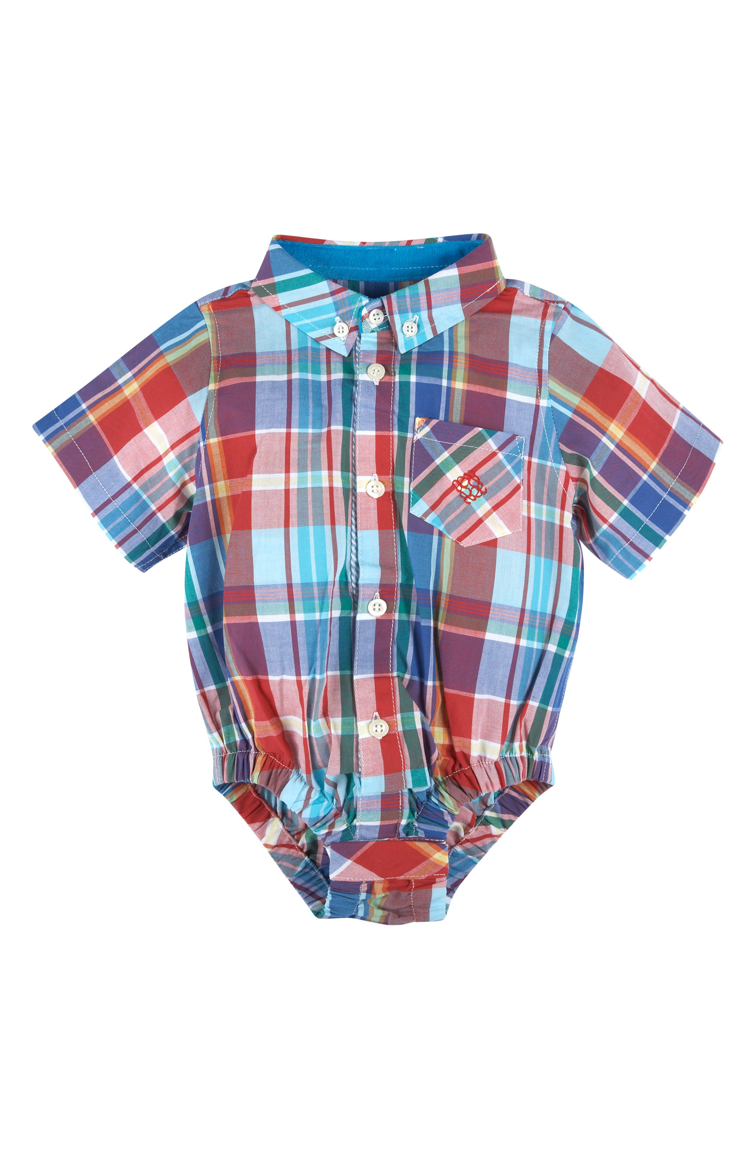 Andy & Evan Madras Plaid Button Down Bodysuit (Baby Boys)