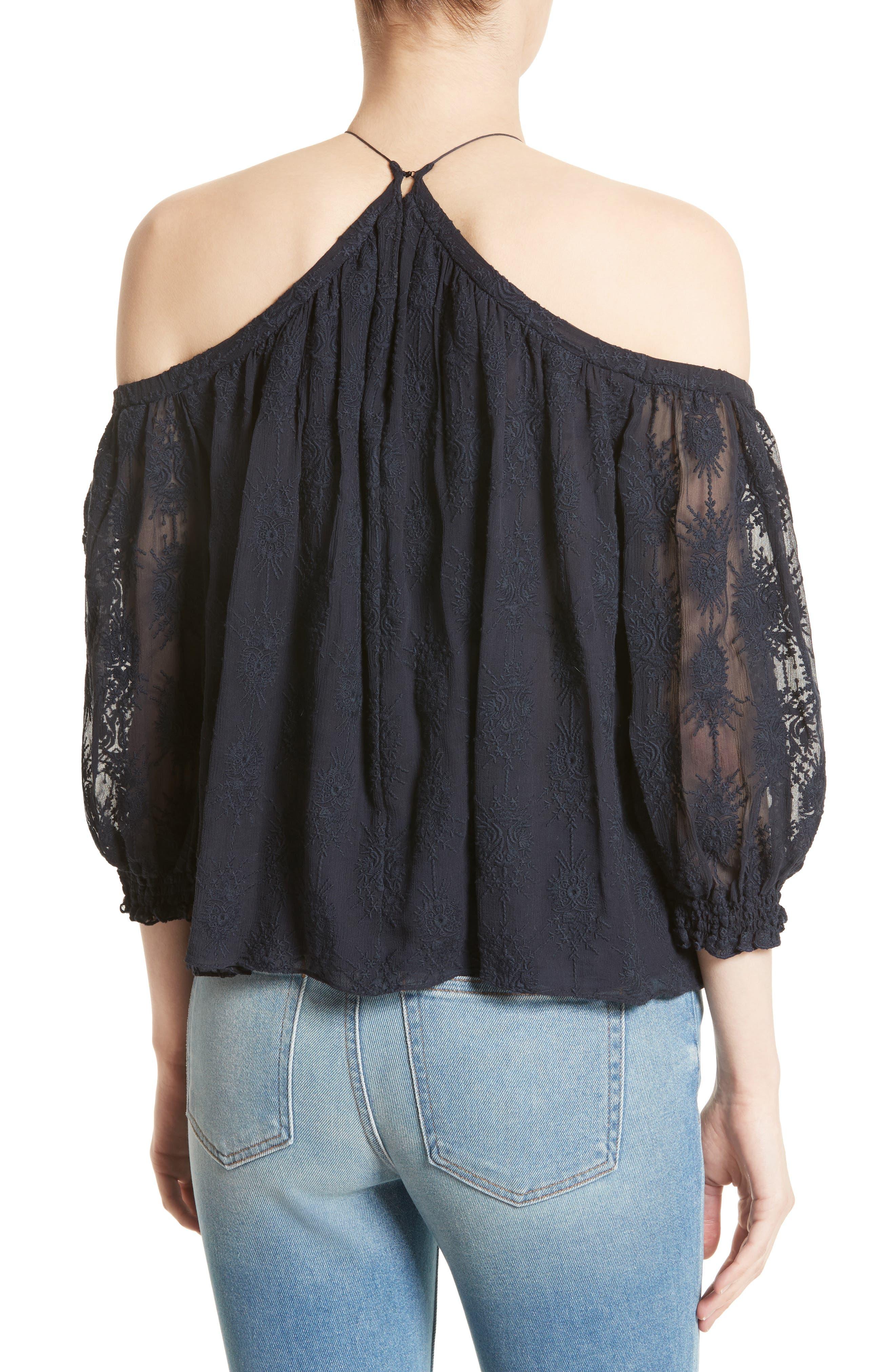Alternate Image 2  - Rebecca Taylor Cold Shoulder Silk Blouse