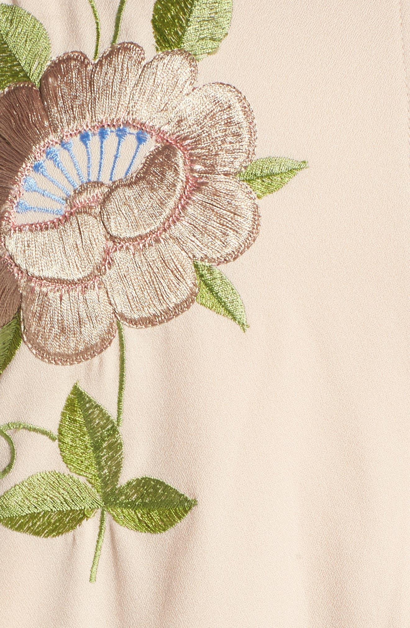 Alternate Image 5  - Glamorous Floral Embroidered Bomber Jacket (Plus Size)