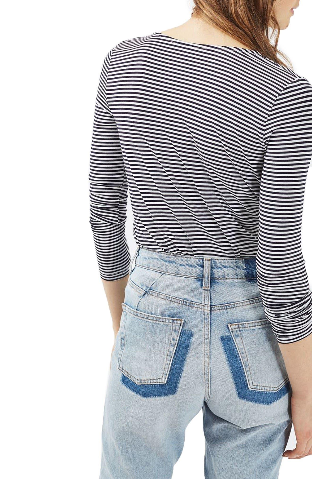 Alternate Image 3  - Topshop Stripe Drape Bodysuit