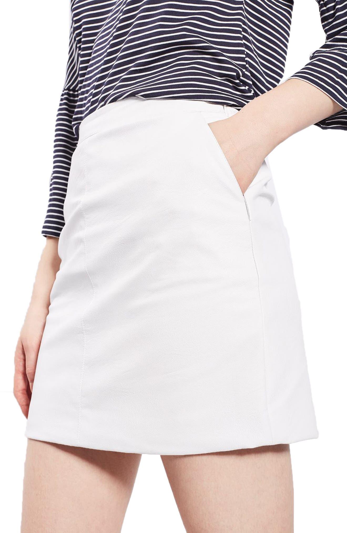 Alternate Image 1 Selected - Topshop Faux Leather Pencil Skirt (Regular & Petite)