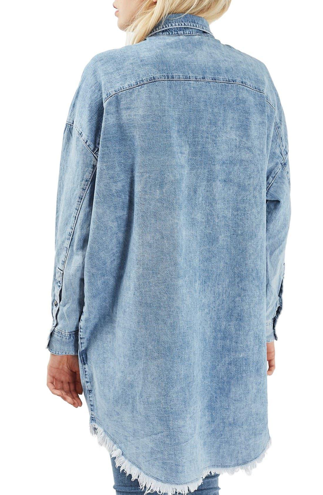 Alternate Image 3  - Topshop Elton Fray Denim Shirtdress