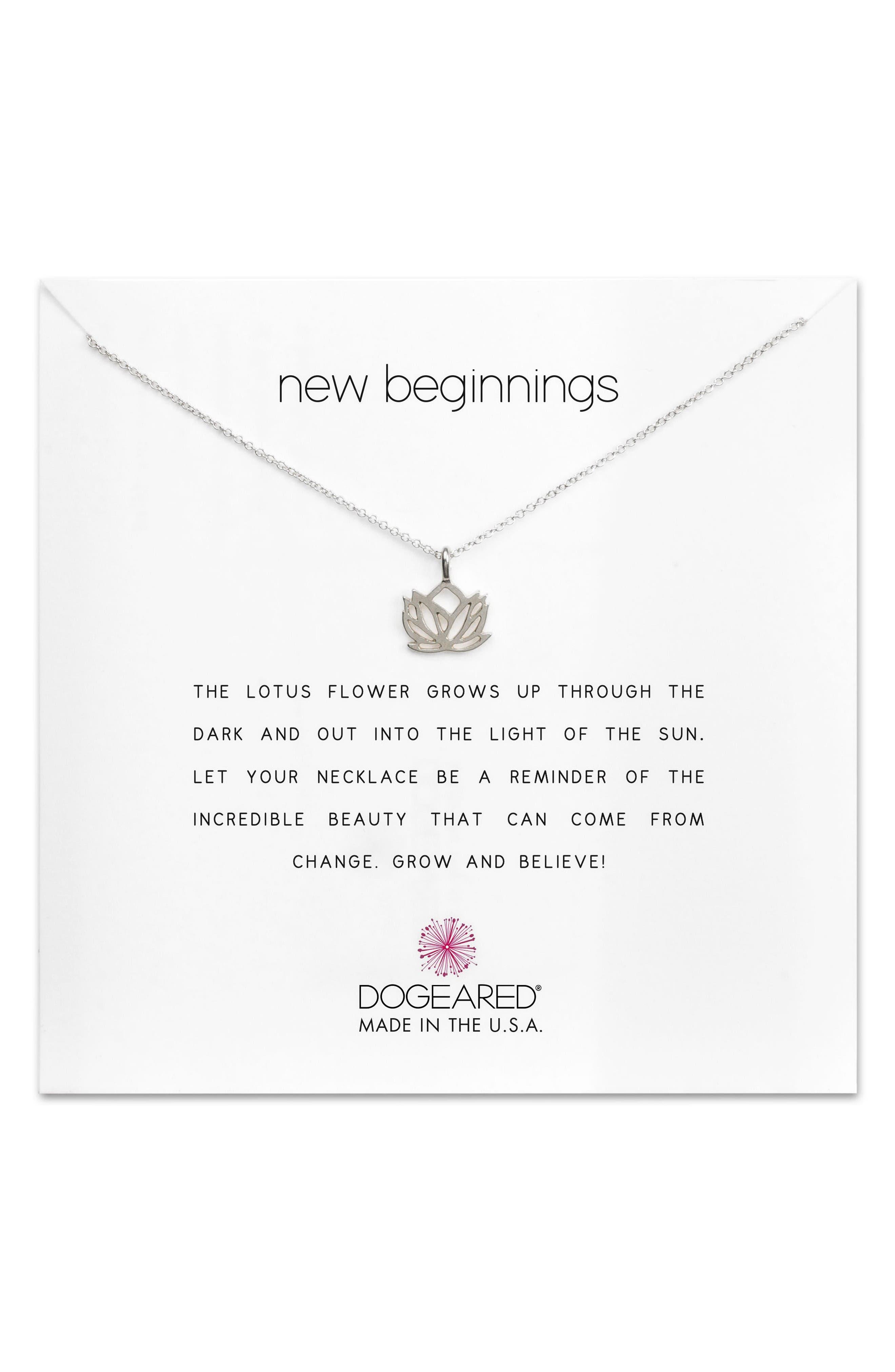 DOGEARED Lotus Reminder Pendant Necklace