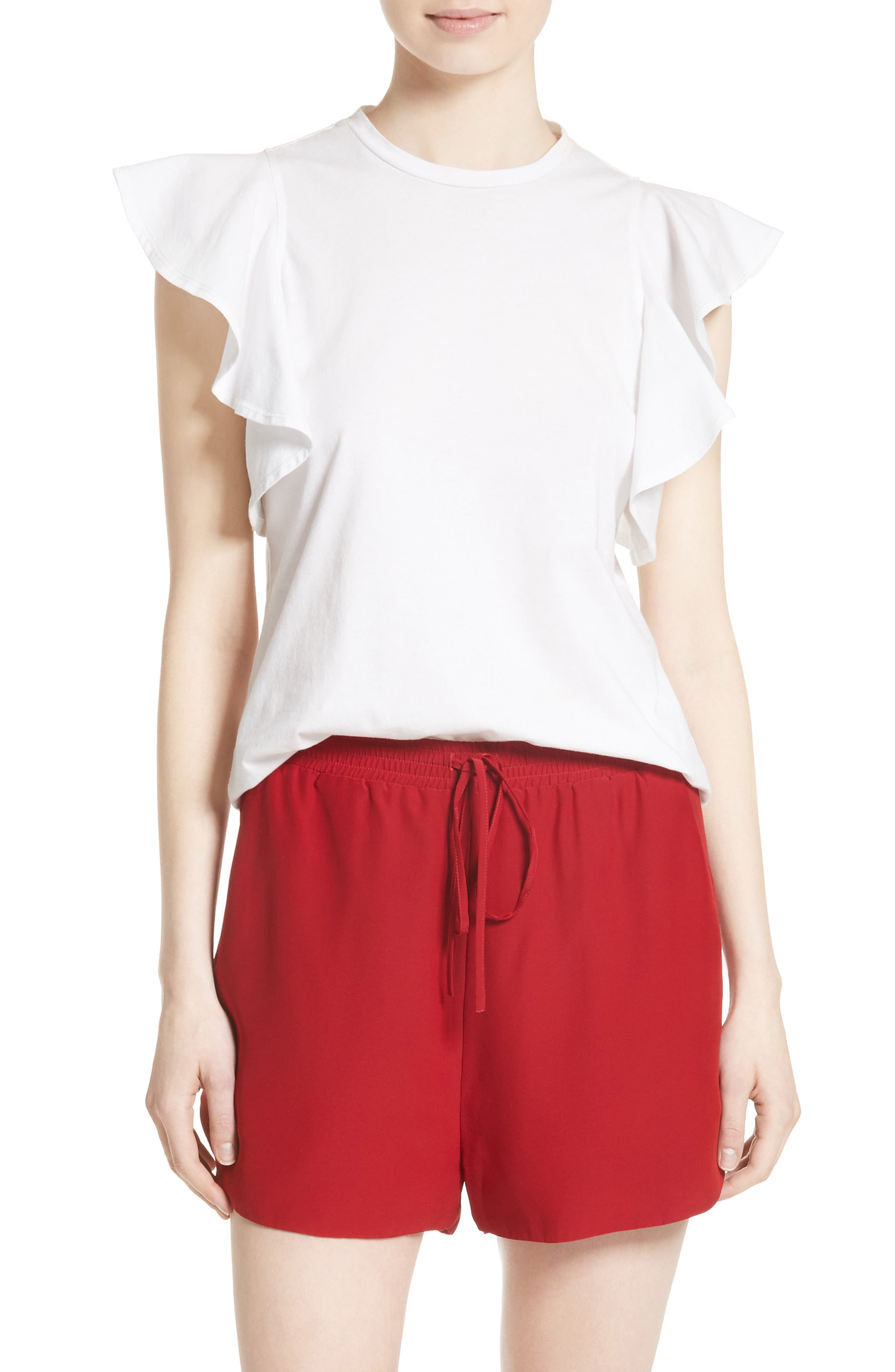 Robert Rodriguez Ruffle Sleeve Cotton Tee