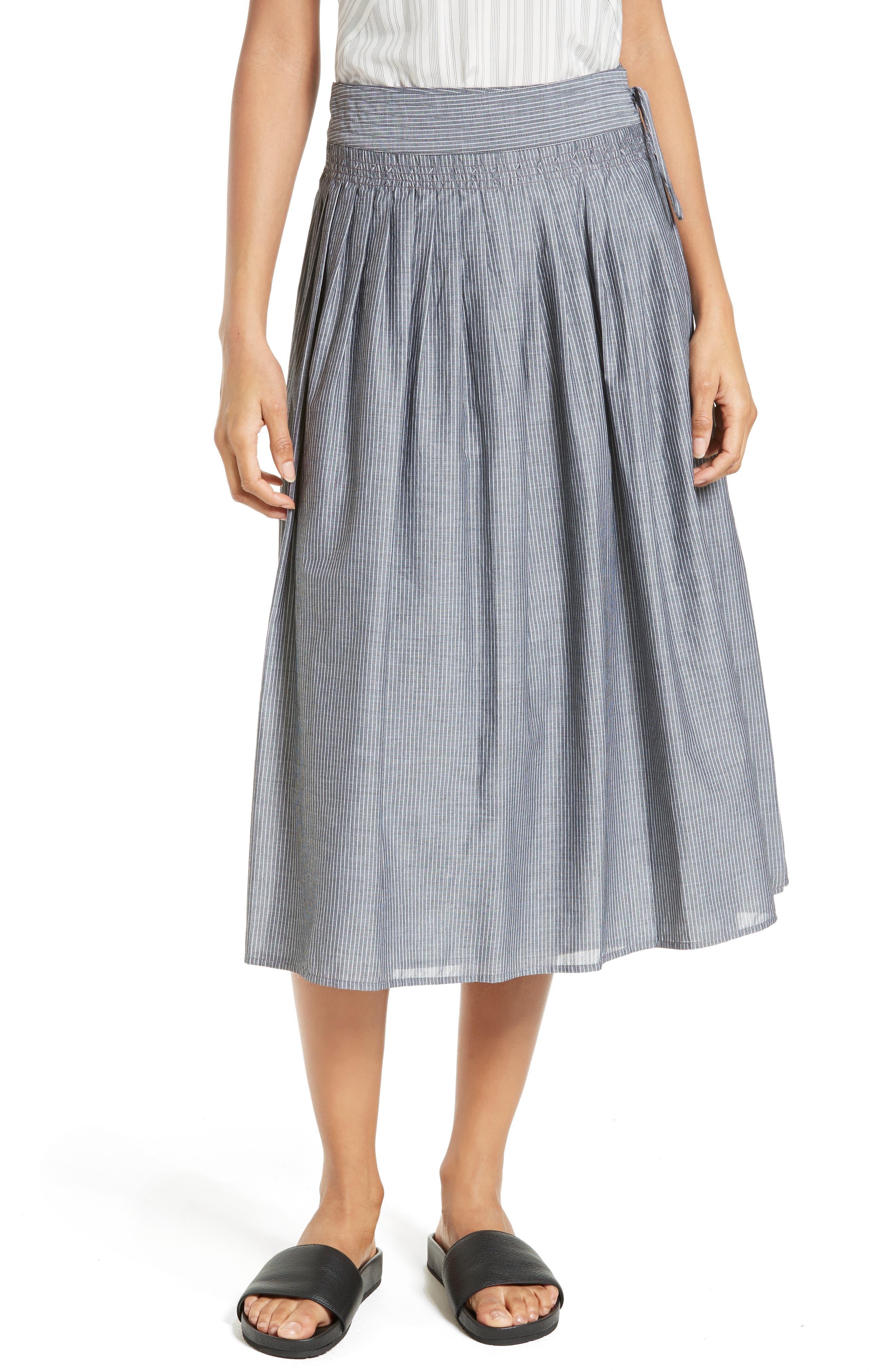 Vince Pinstripe Wrap Skirt