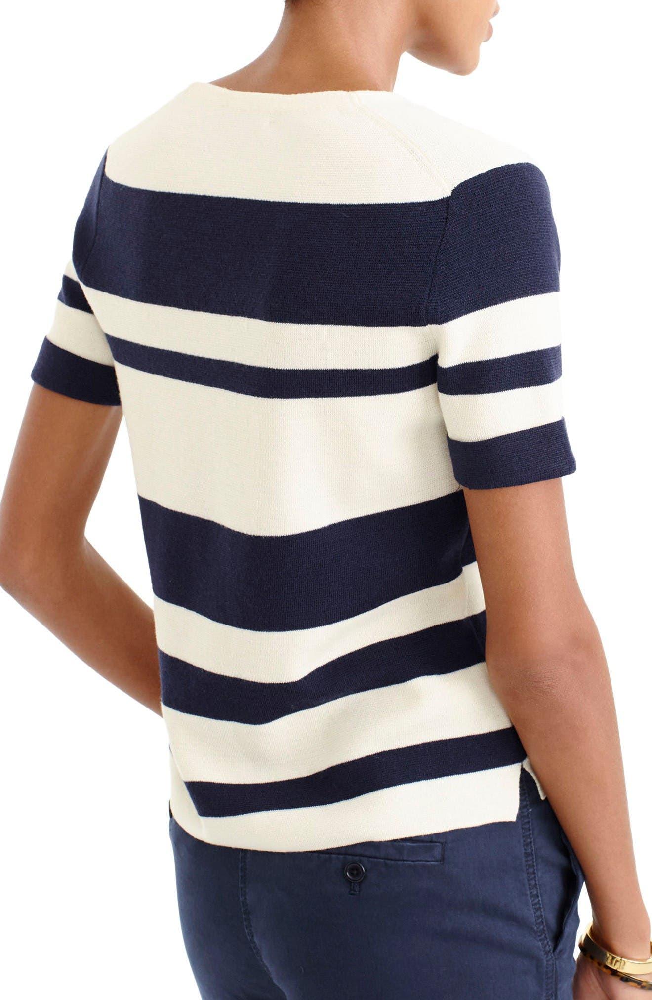 Alternate Image 2  - J.Crew Stripe Wool V-Neck Sweater