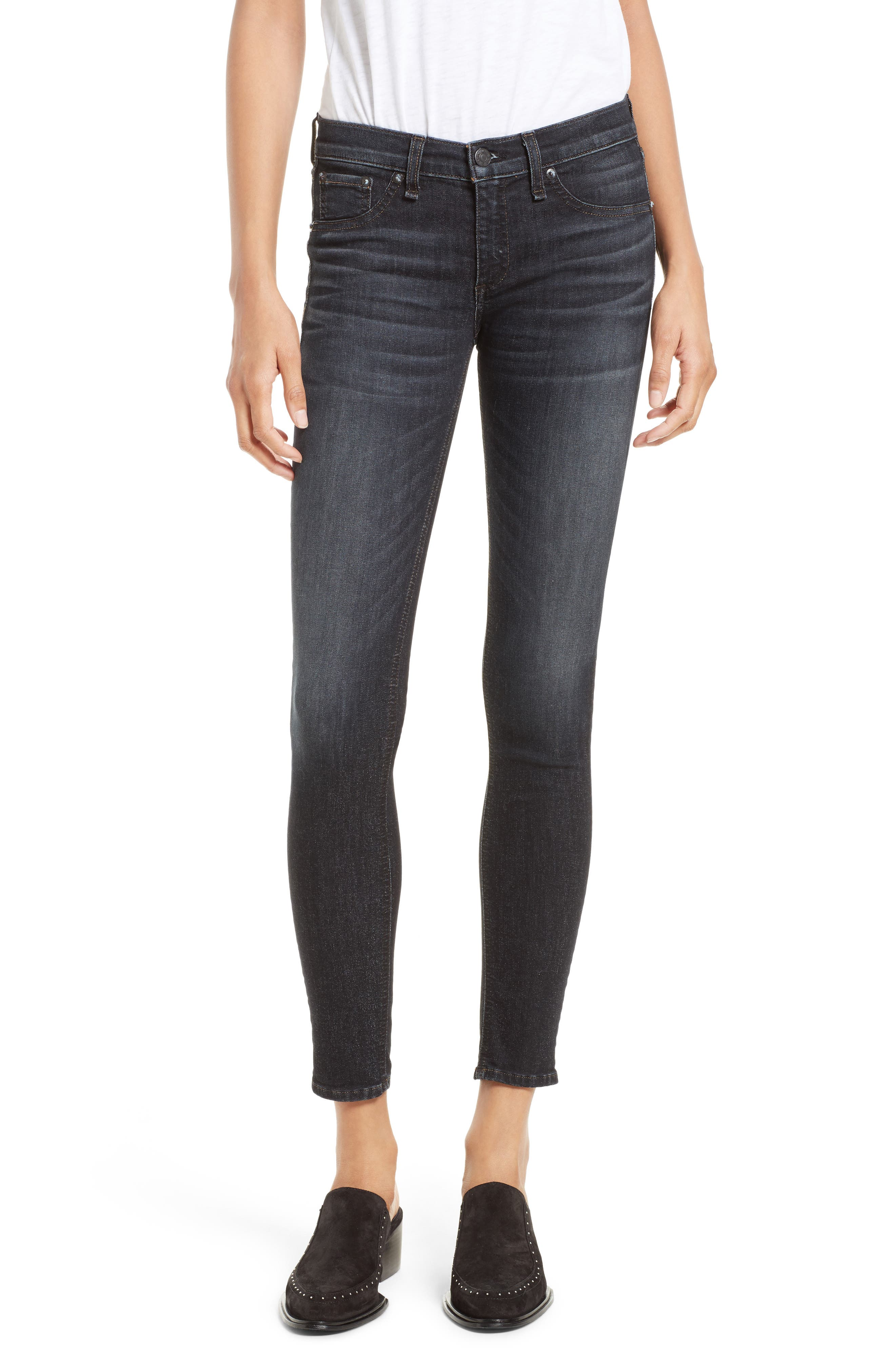 Alternate Image 1 Selected - rag & bone/JEAN Skinny Jeans (Black Rae)