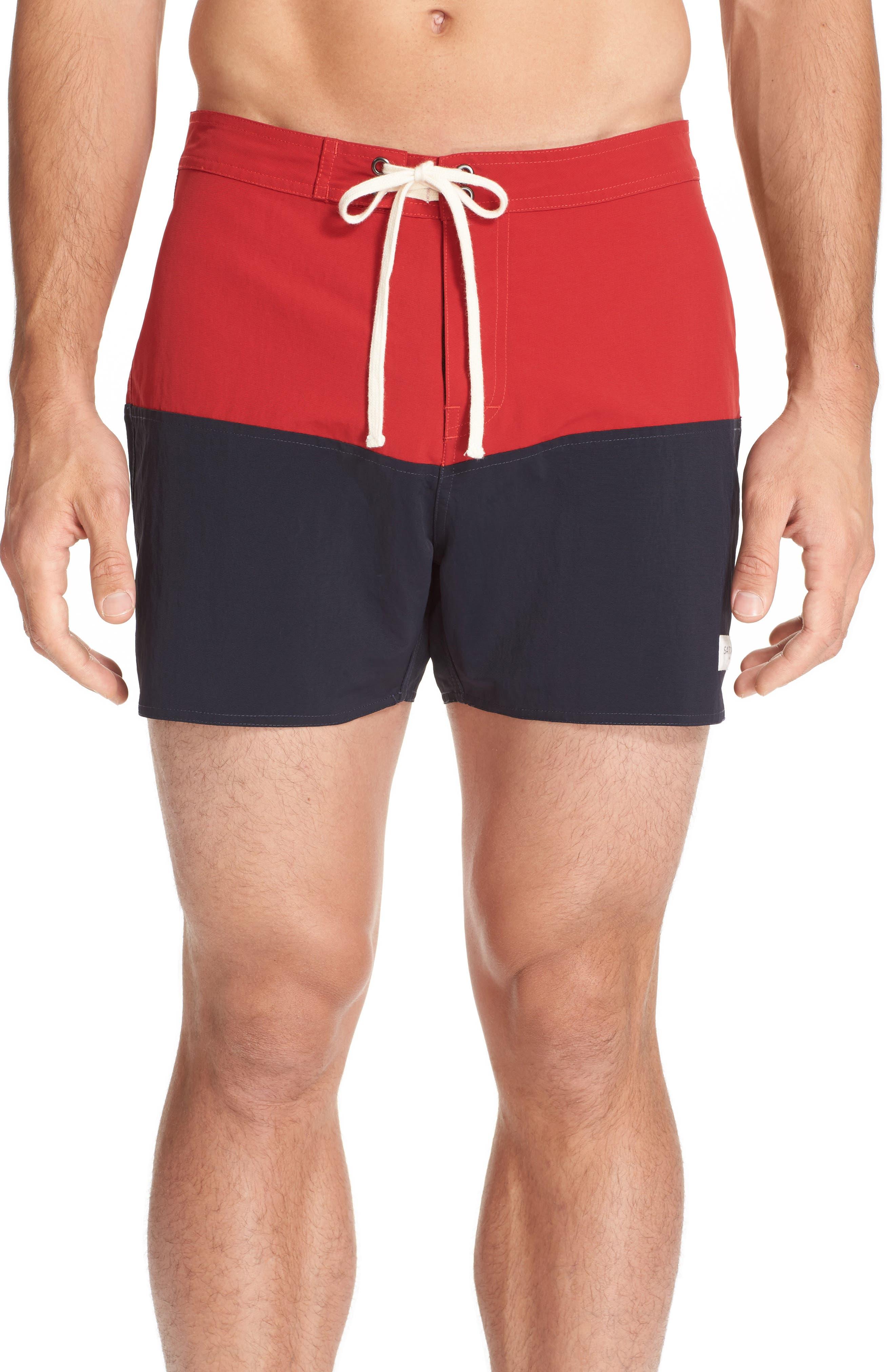 SATURDAYS NYC Ennis Colorblock Swim Shorts