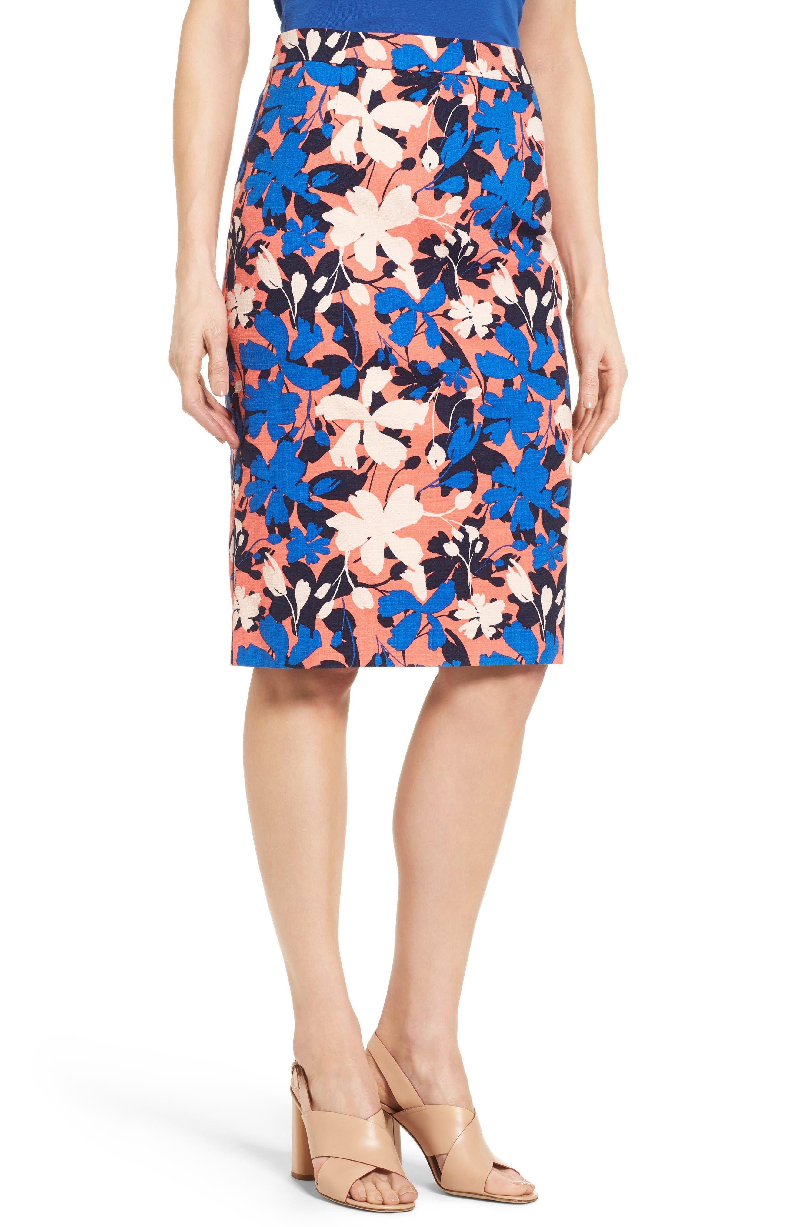 Alternate Image 1 Selected - Halogen® Floral Print Pencil Skirt (Regular & Petite)