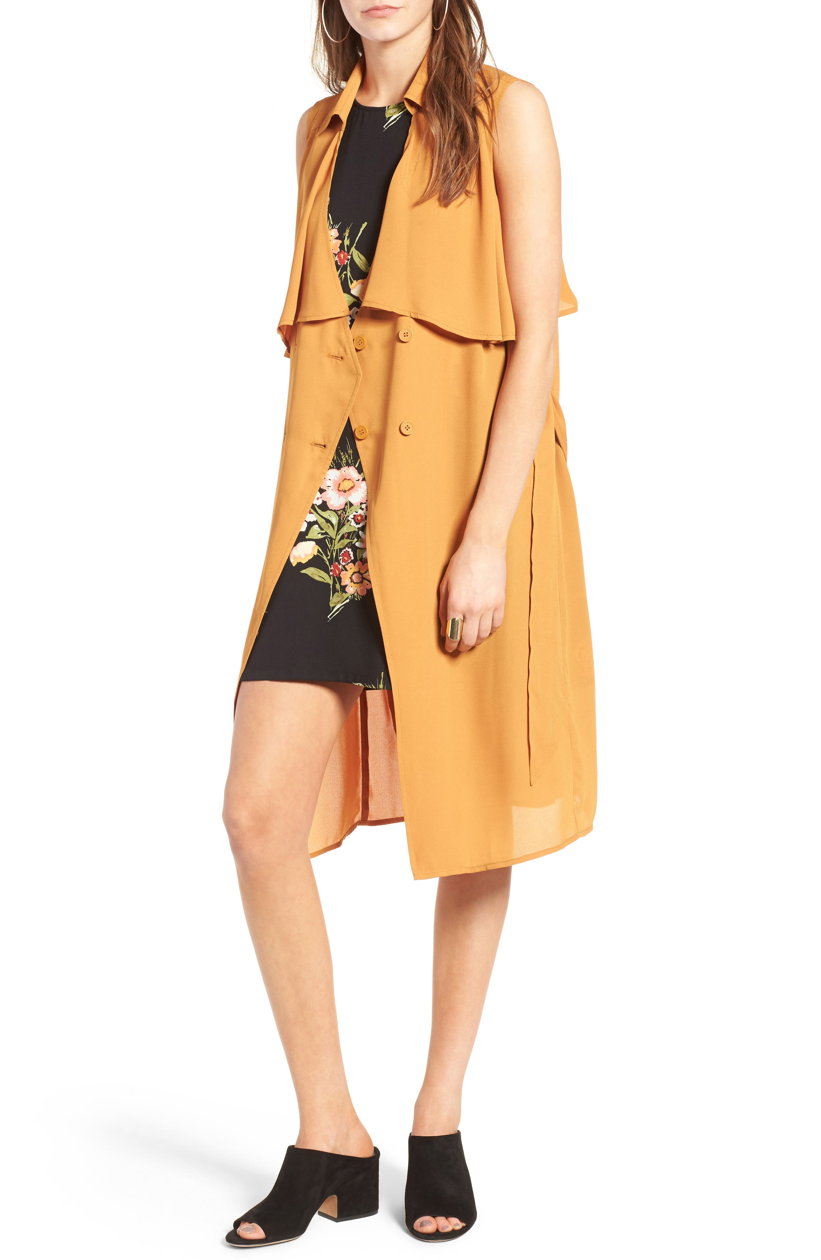 Alternate Image 1 Selected - Leith Crepe Trench Vest