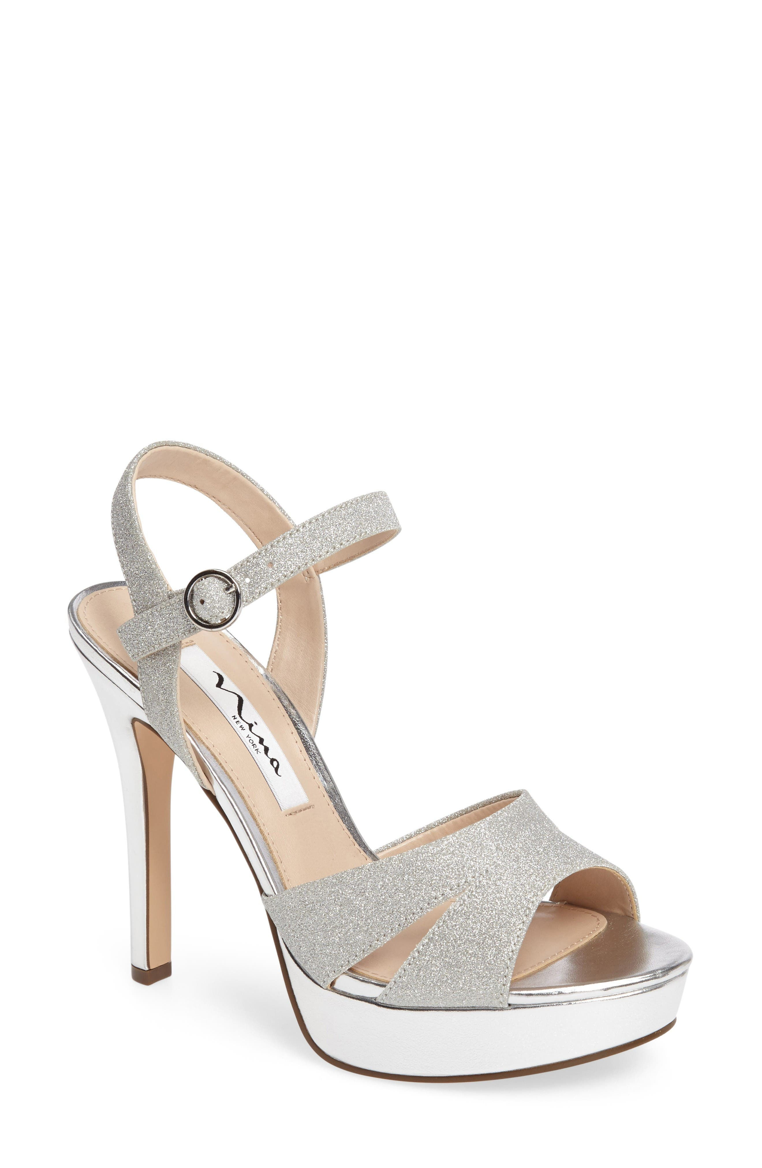 Main Image - Nina Shara Shimmery Platform Sandal (Women)