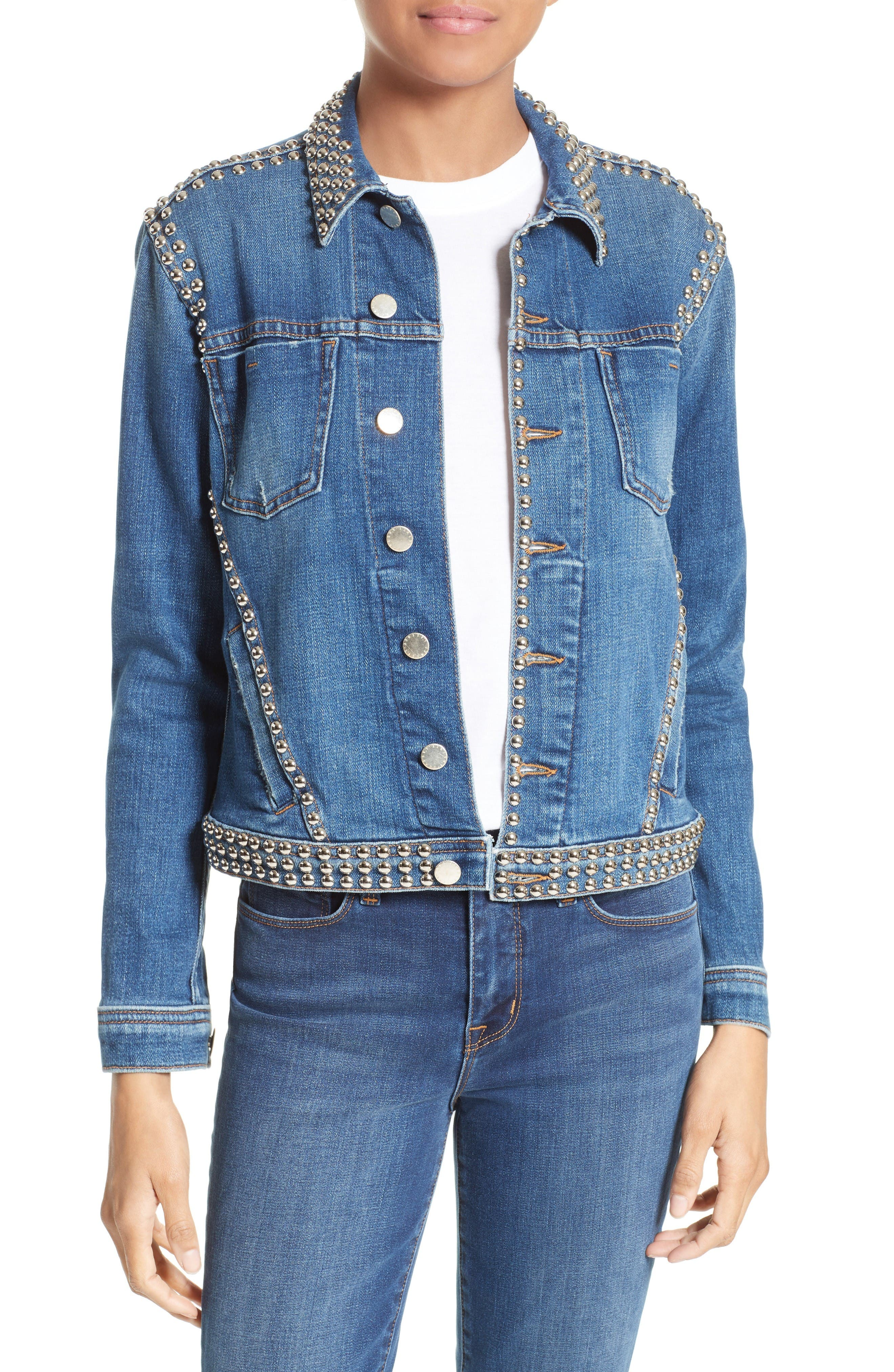 L'AGENCE Studded Denim Jacket