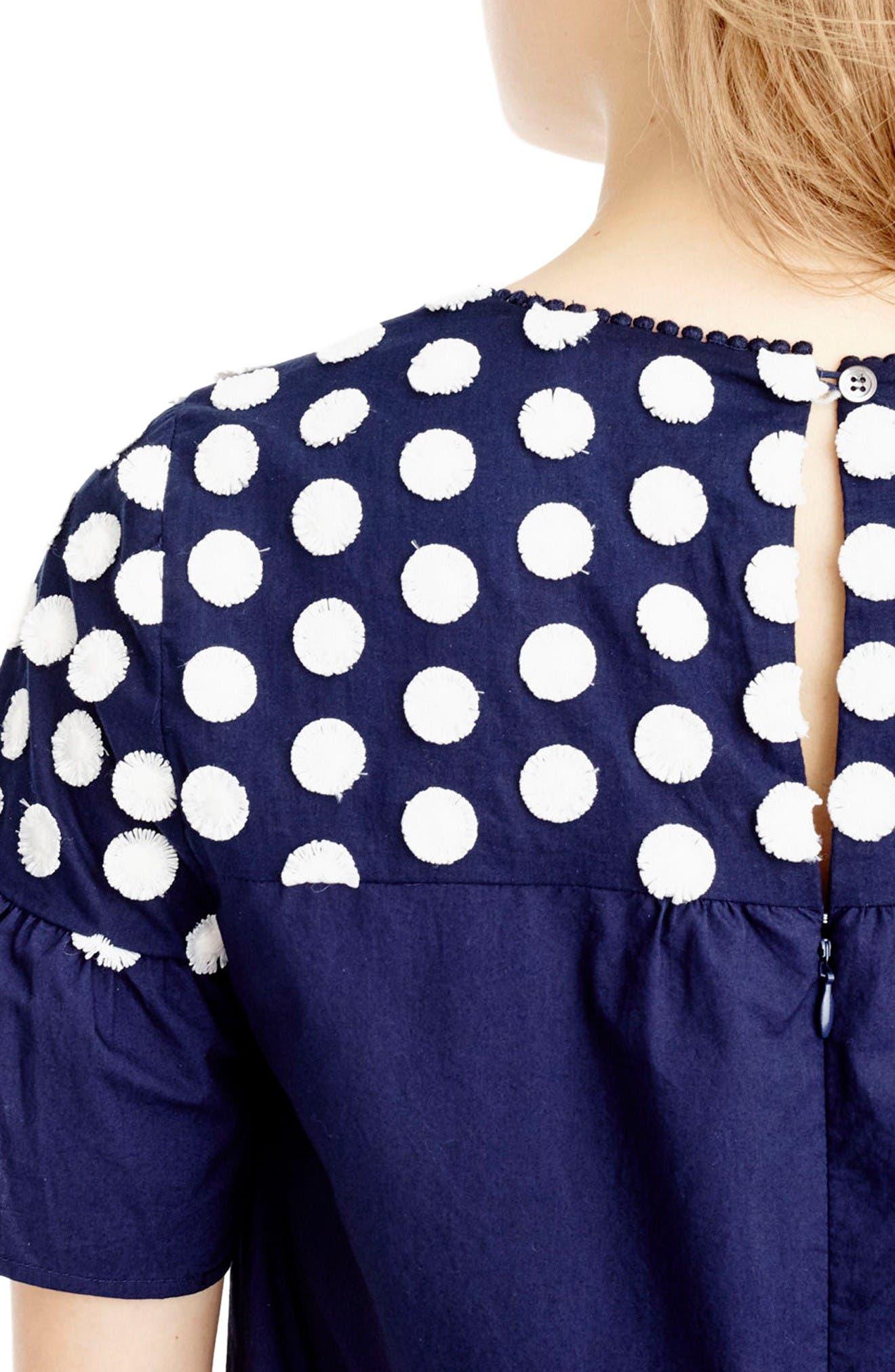 Alternate Image 2  - J.Crew Bell Sleeve Fringe Dot Dress (Regular & Petite)