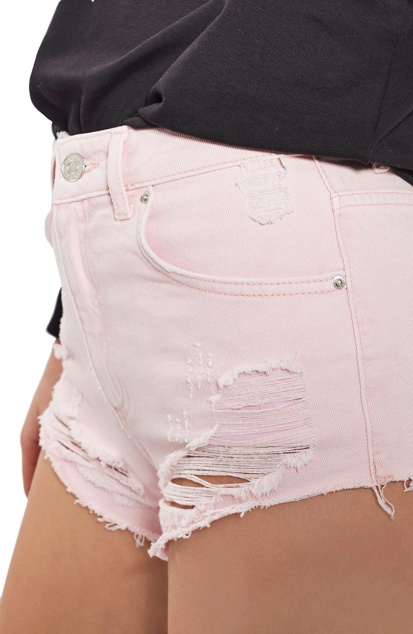 Alternate Image 5  - Topshop Ripped Mini Denim Shorts (Regular & Petite)