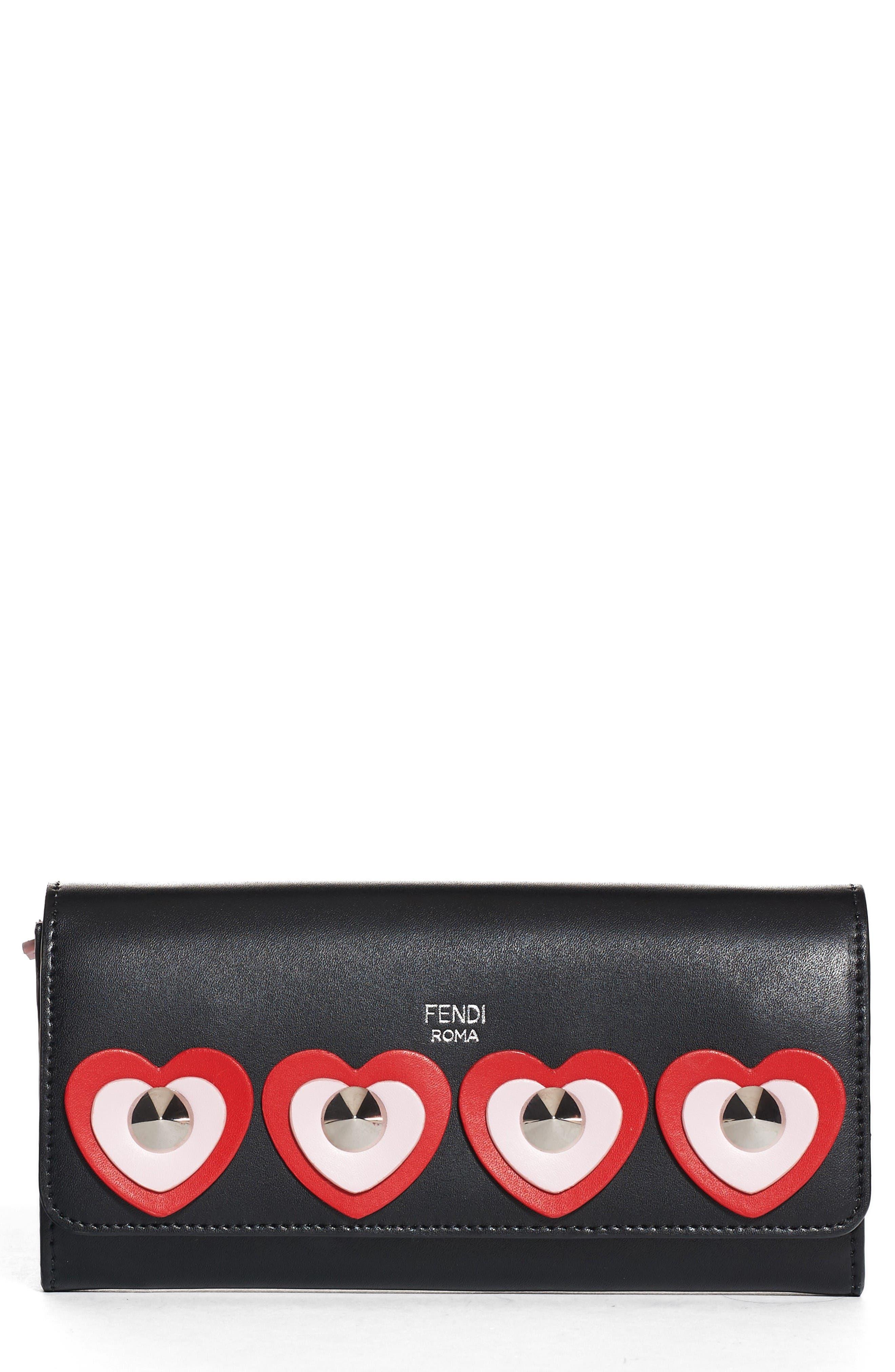 Fendi Studded Heart Calfskin Wallet on a Chain