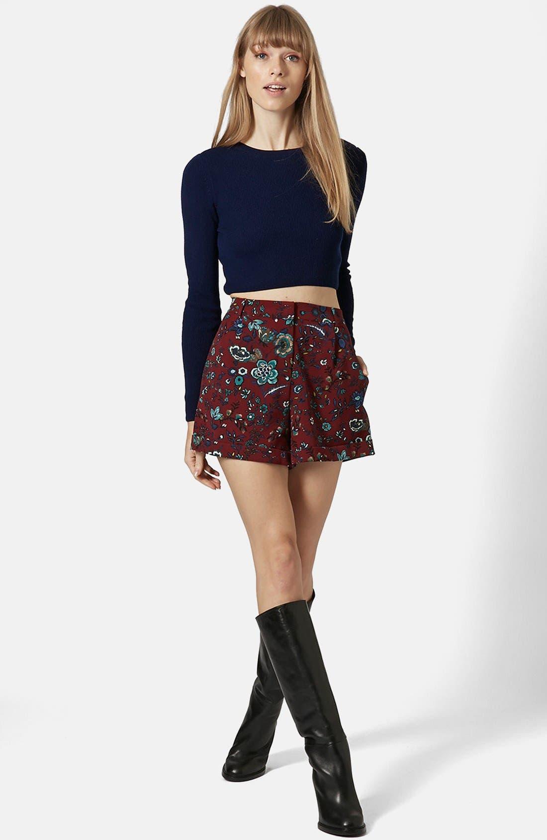 Alternate Image 5  - Topshop 'Blueberry Flower' Cuff Shorts