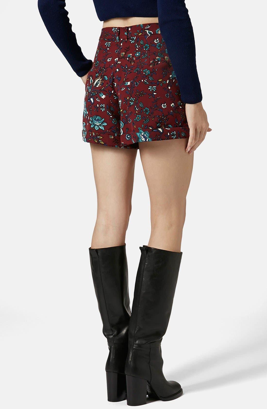 Alternate Image 2  - Topshop 'Blueberry Flower' Cuff Shorts