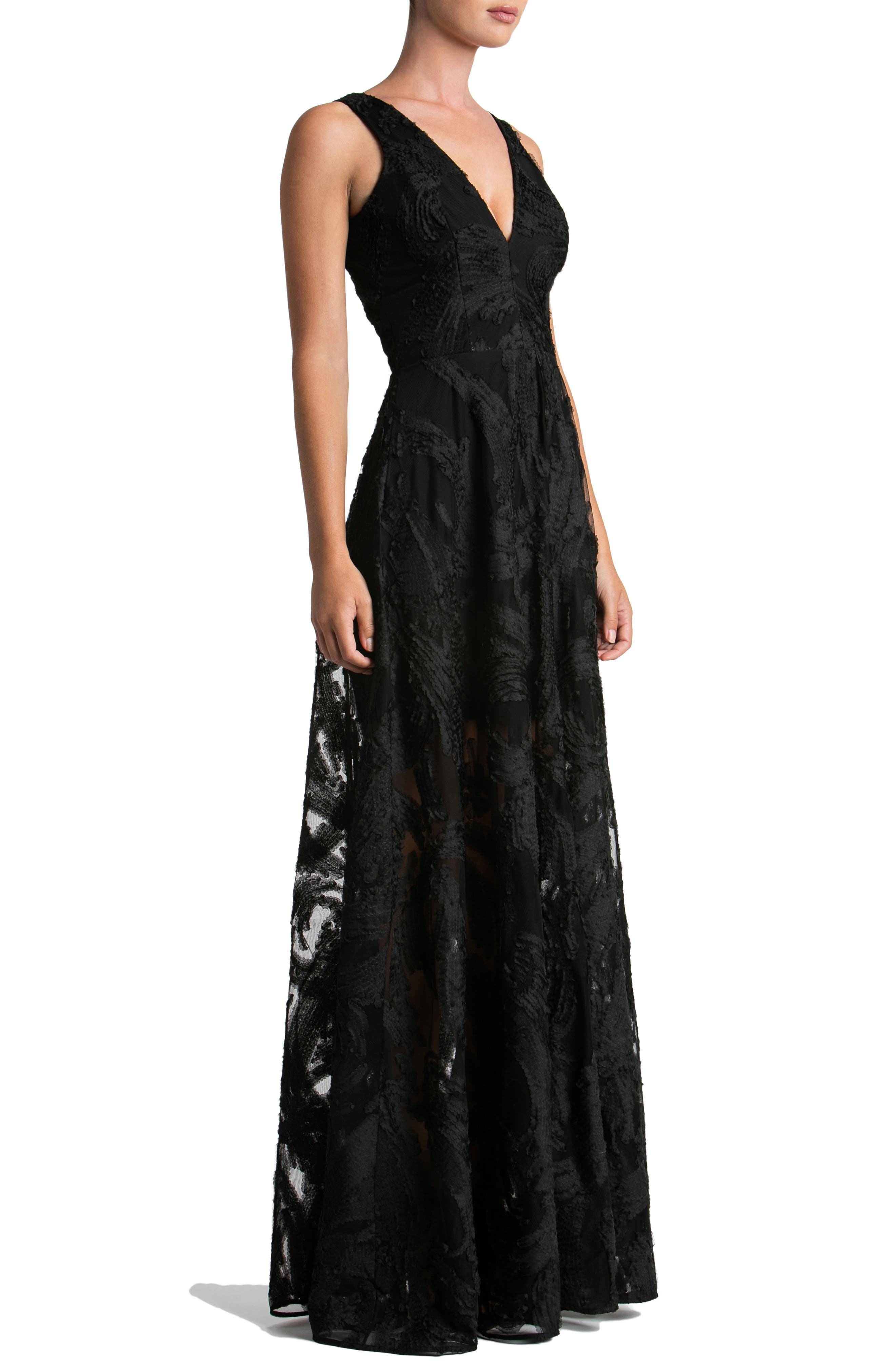 Alternate Image 3  - Dress the Population Marlene Plunging Embroidered Mesh Maxi Dress