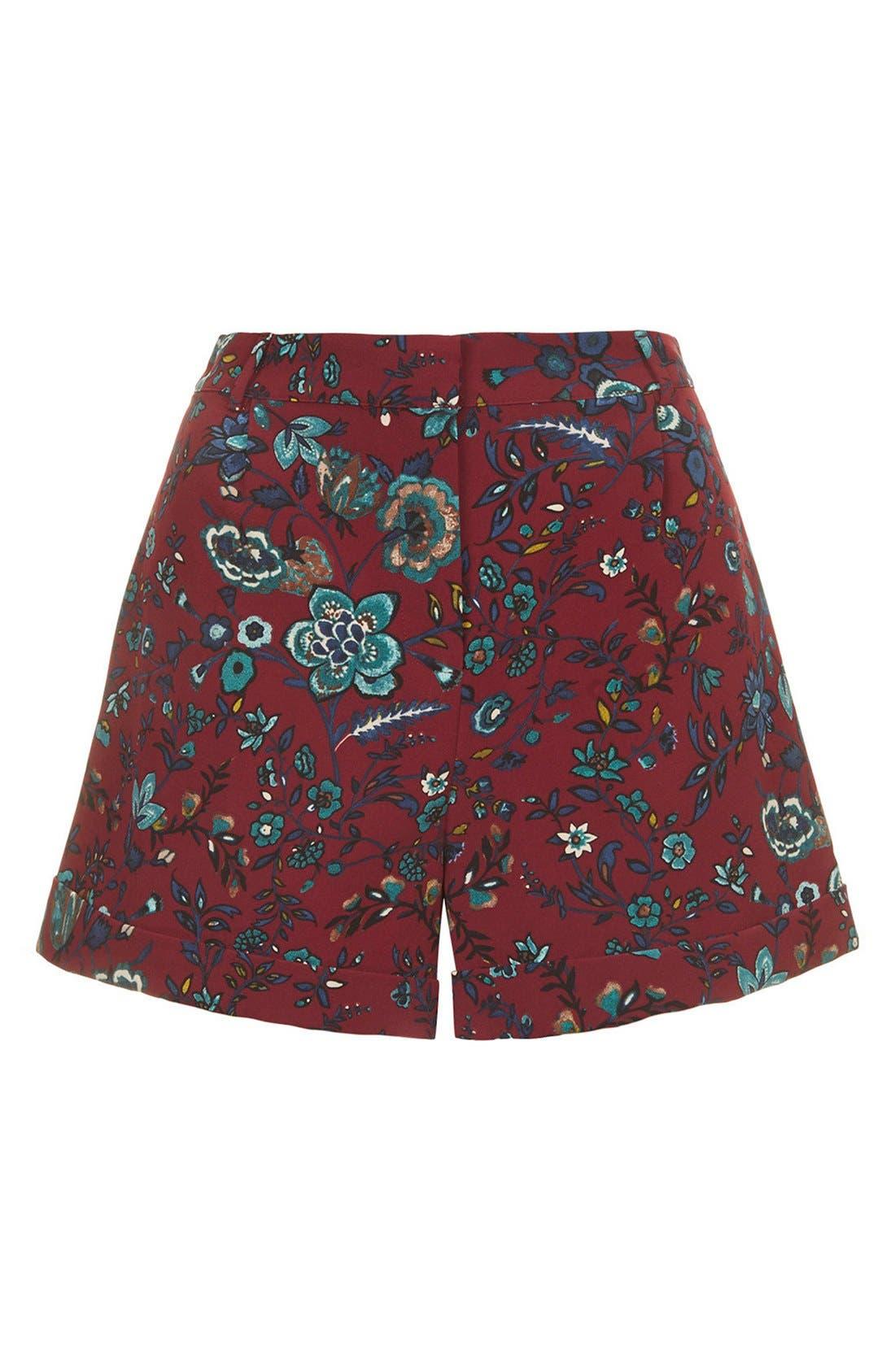 Alternate Image 4  - Topshop 'Blueberry Flower' Cuff Shorts