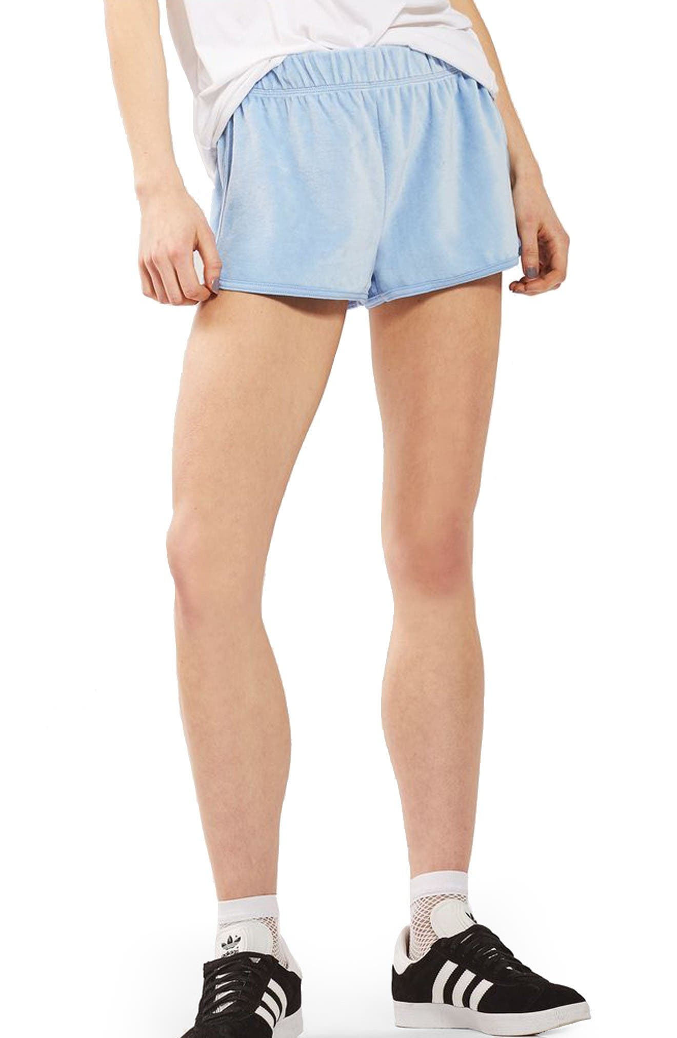 TOPSHOP Velour Runner Shorts