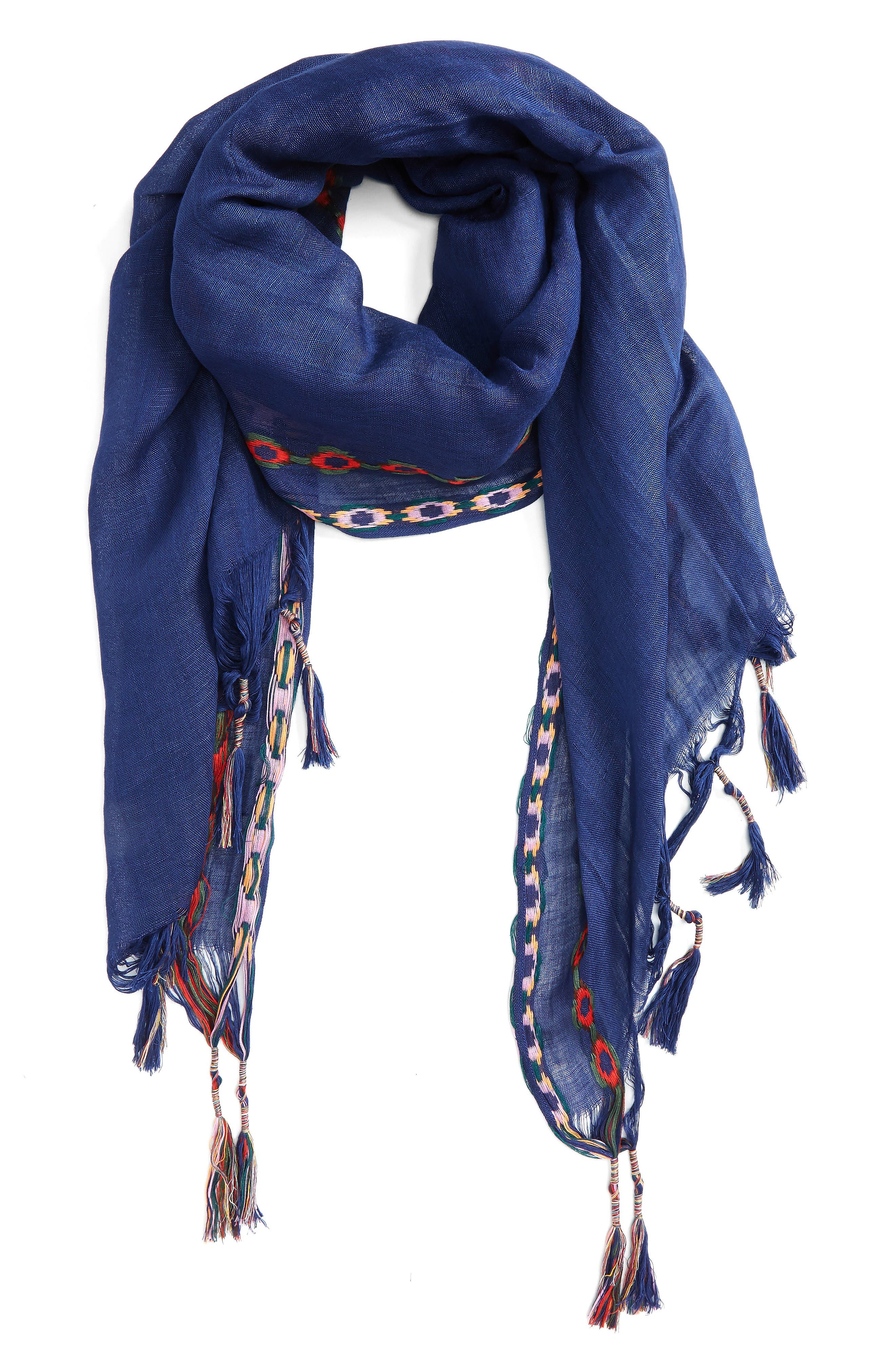 Alternate Image 1 Selected - Shiraleah Arabella Embroidered Tassel Scarf