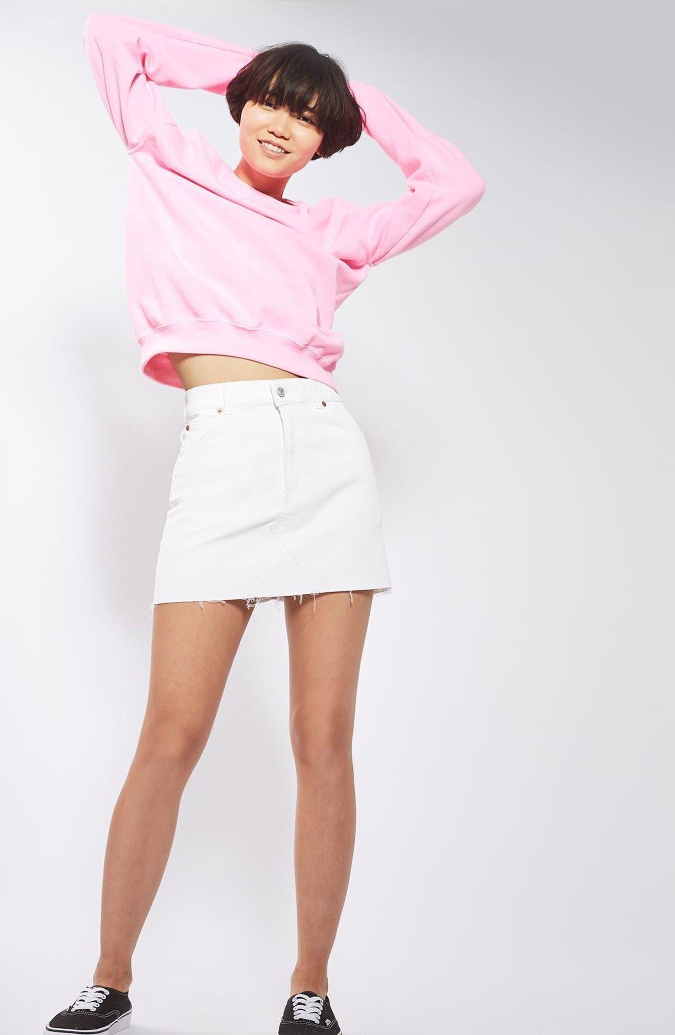 Alternate Image 2  - Topshop Coated Denim Miniskirt