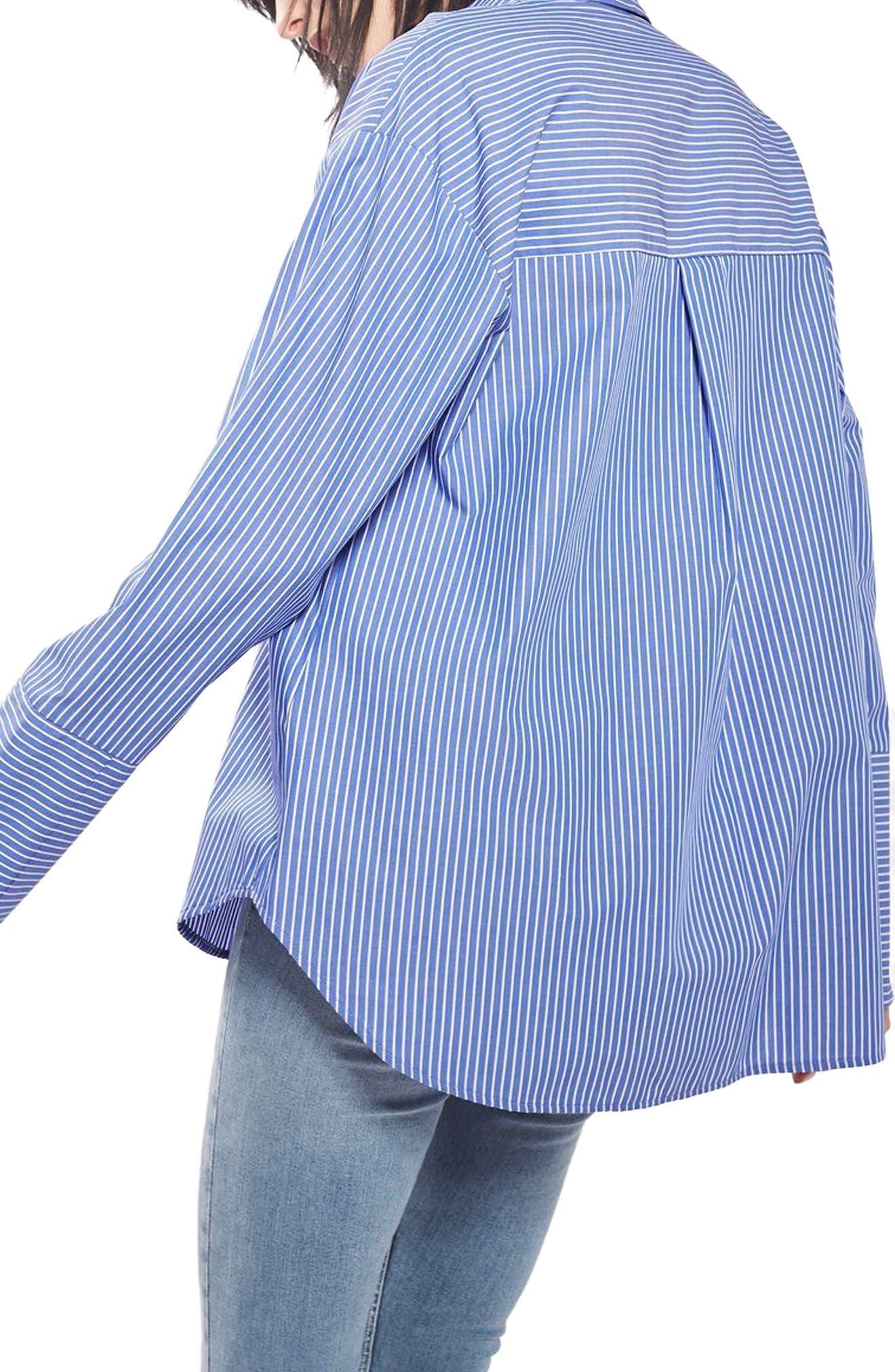 Alternate Image 3  - Topshop Deep Cuff Stripe Shirt