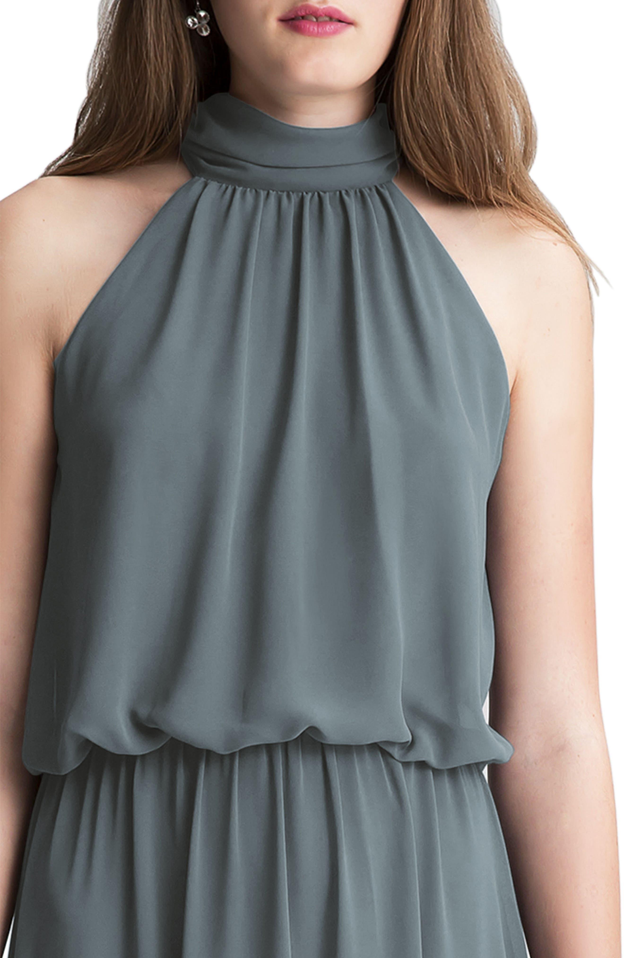 Alternate Image 3  - #Levkoff High Neck Chiffon A-Line Gown