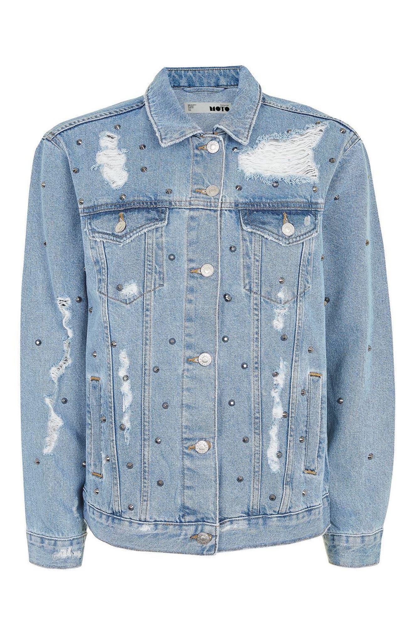 Alternate Image 3  - Topshop Studded Distressed Denim Jacket (Regular & Petite)