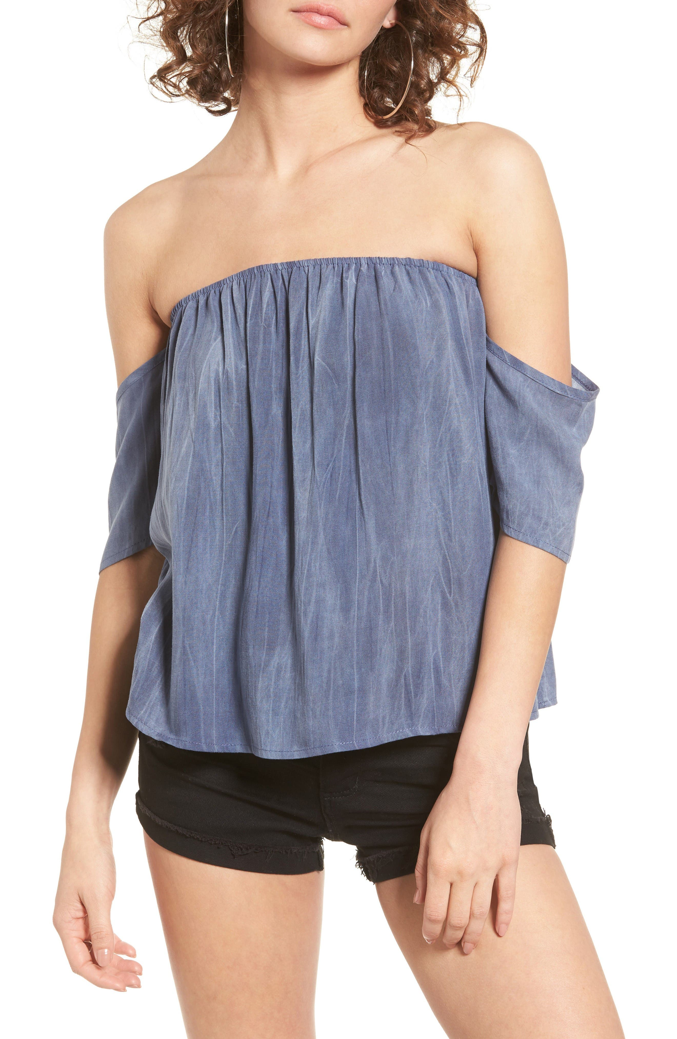 Alternate Image 1 Selected - Sun & Shadow Off the Shoulder Washed Top