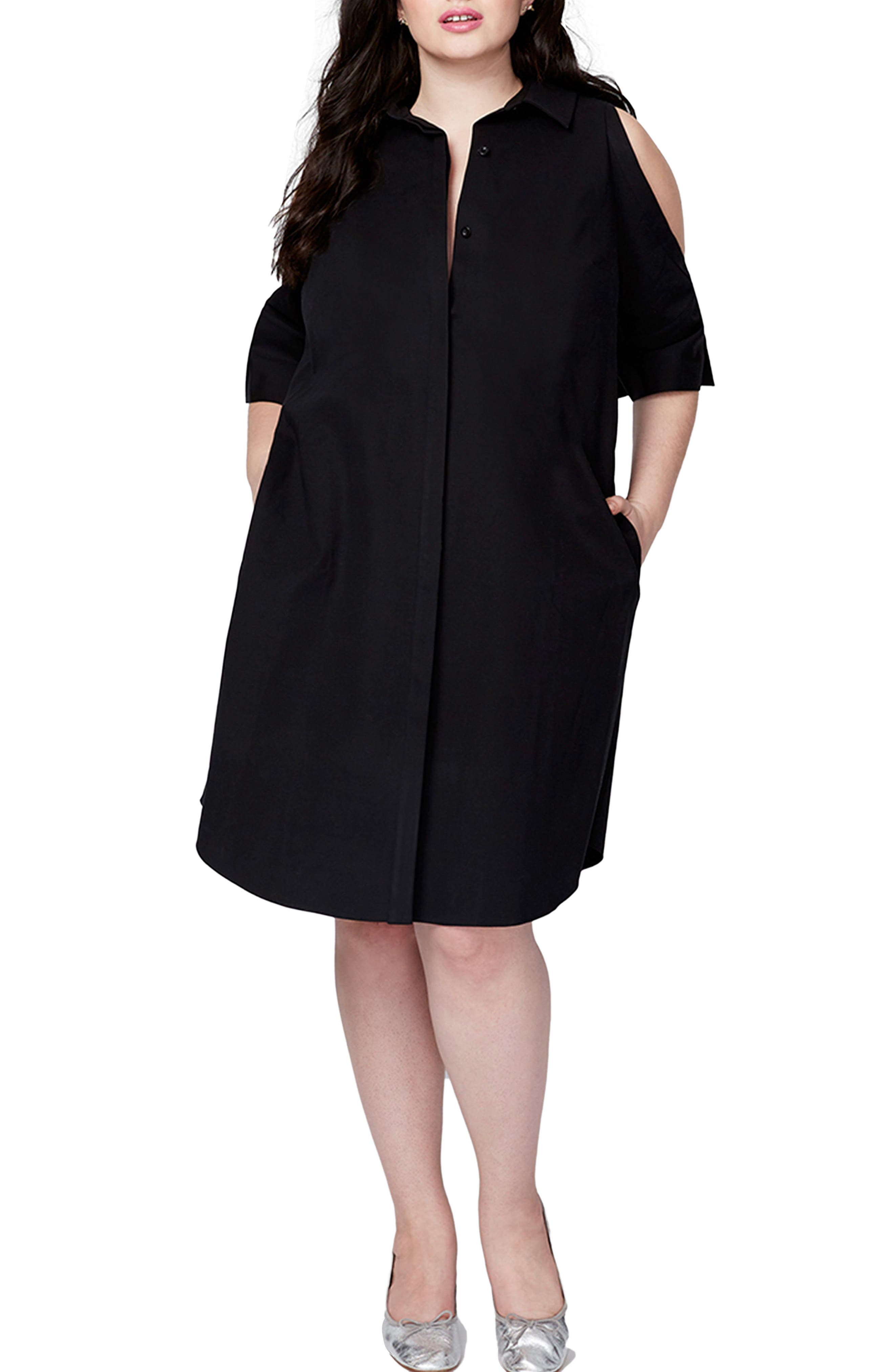 Rachel Roy Cold Shoulder Shirtdress (Plus Size)
