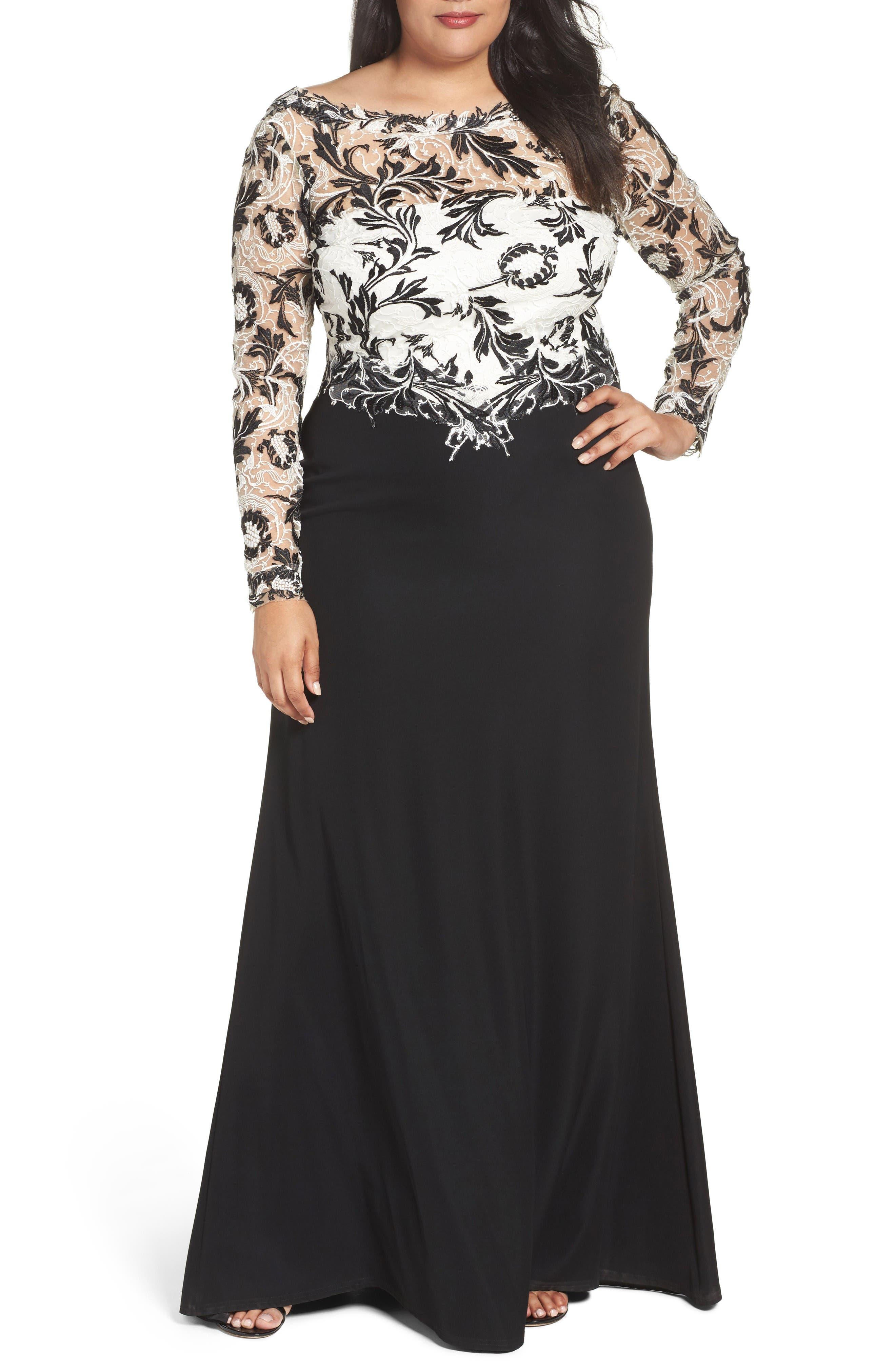 Tadashi Shoji Two-Tone Lace & Crepe Gown (Plus Size)