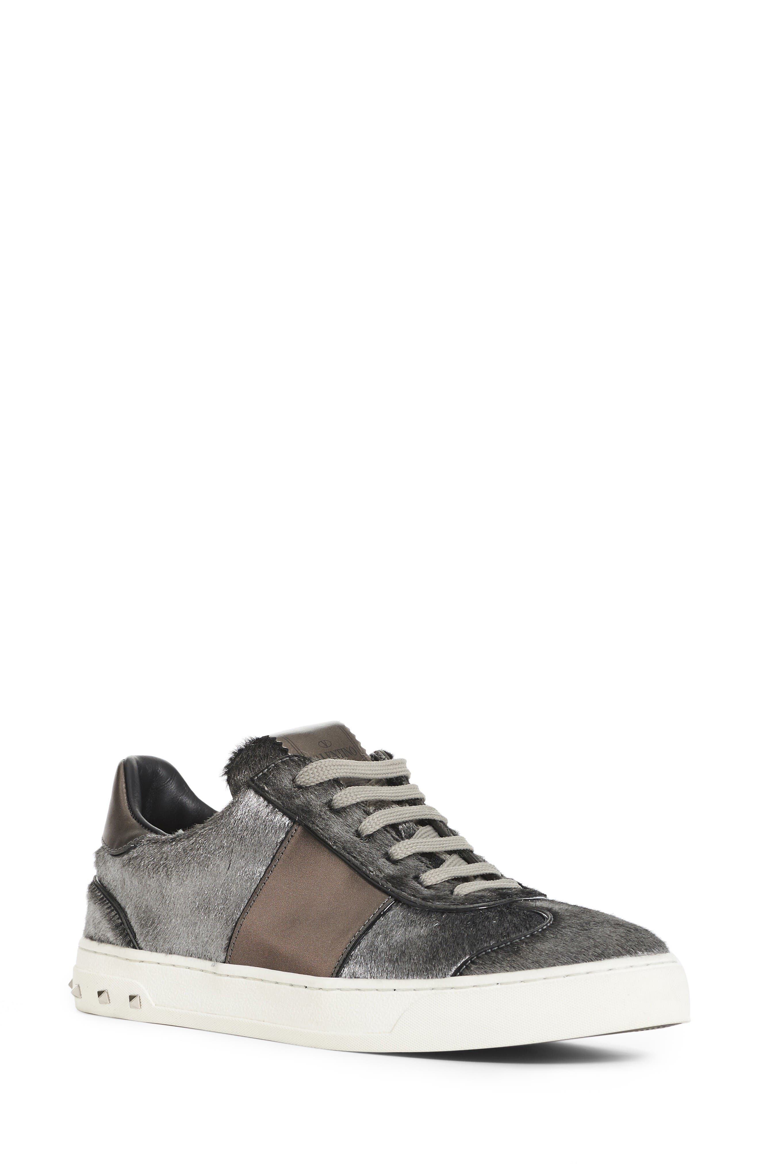 Valentino Flycrew Rockstud Genuine Calf Hair Sneaker (Women)