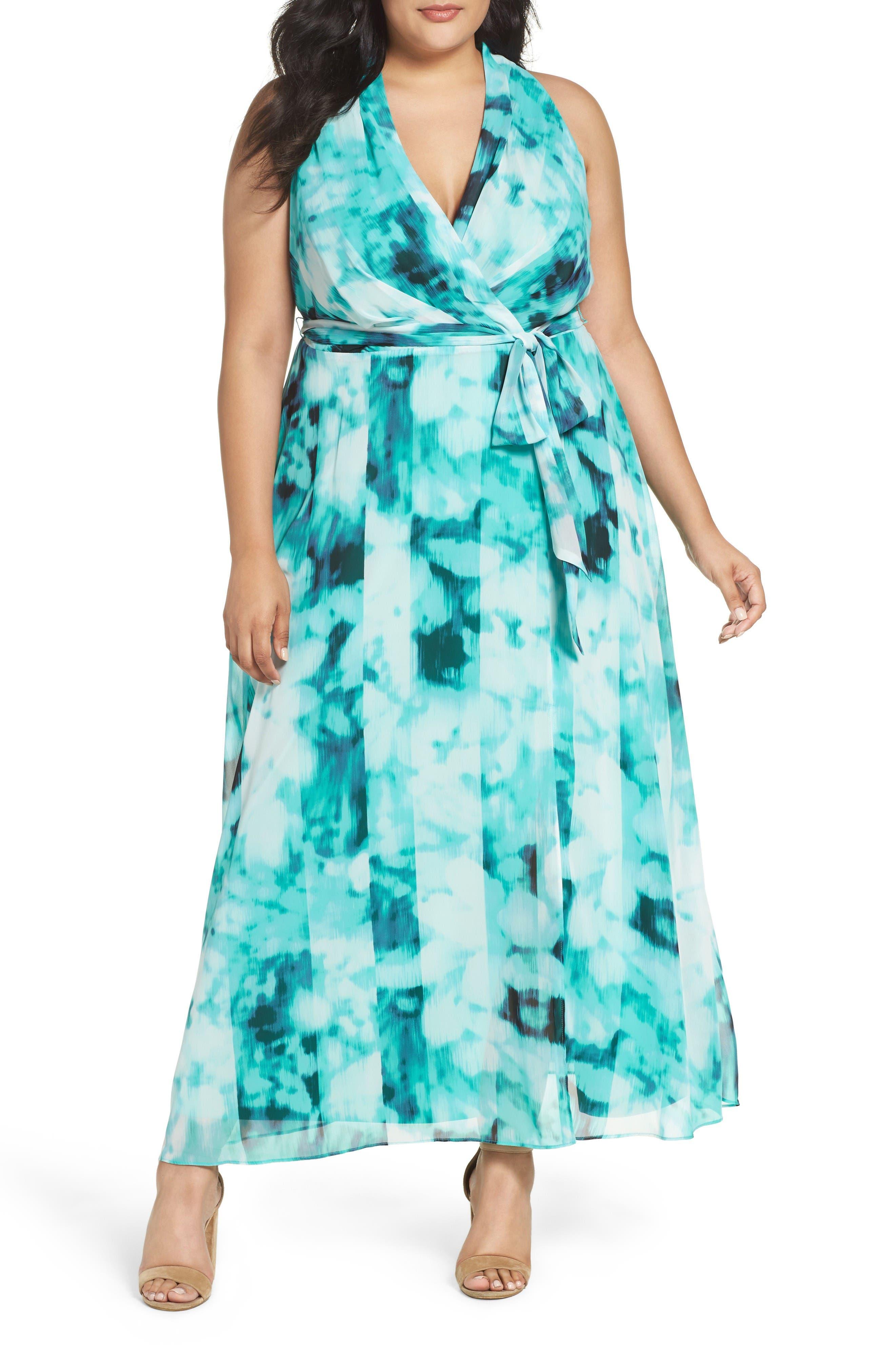 London Times Ikat Print Faux Wrap Maxi Dress (Plus Size)