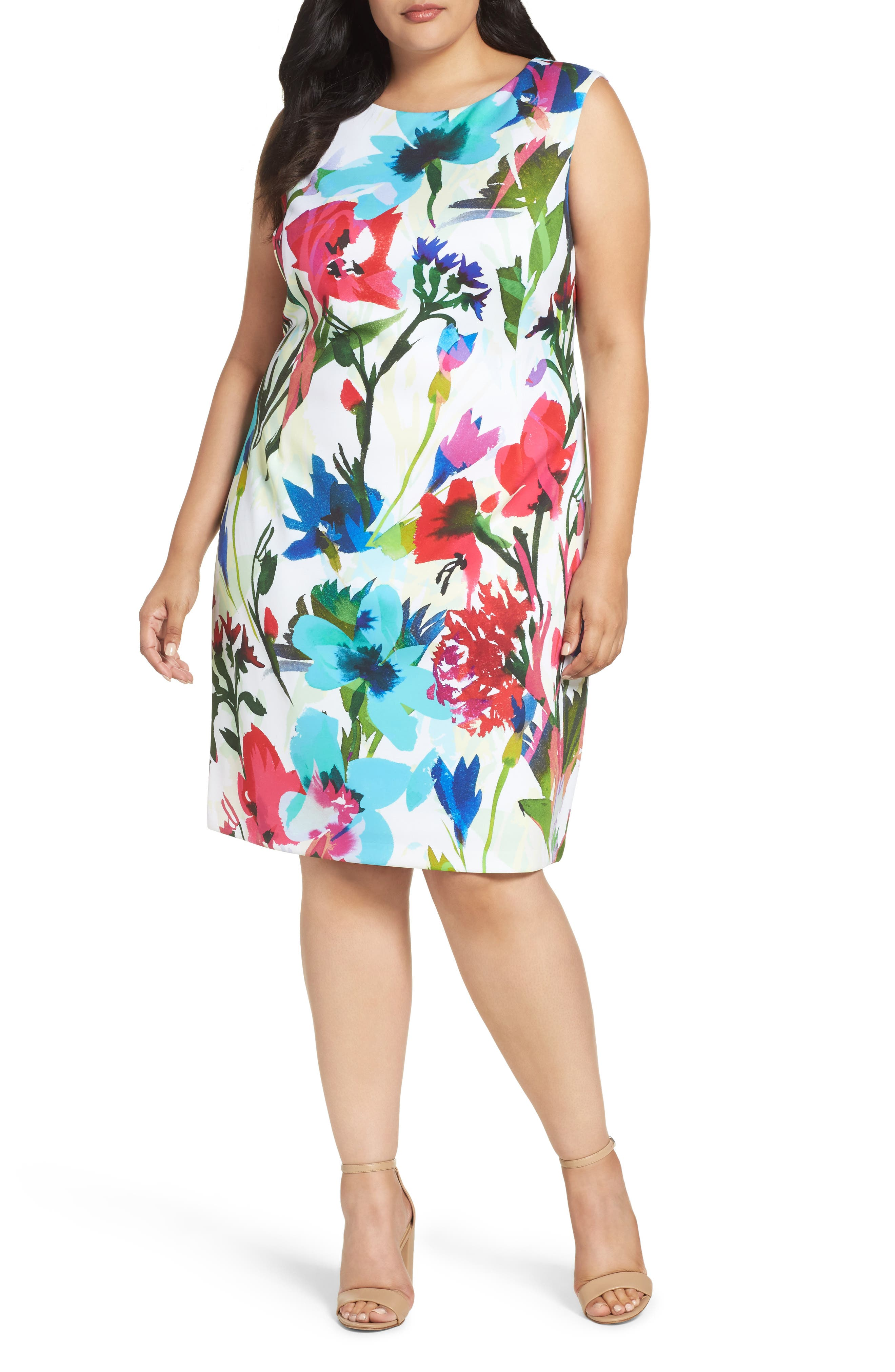 Ellen Tracy Floral Scuba Sheath Dress (Plus Size)